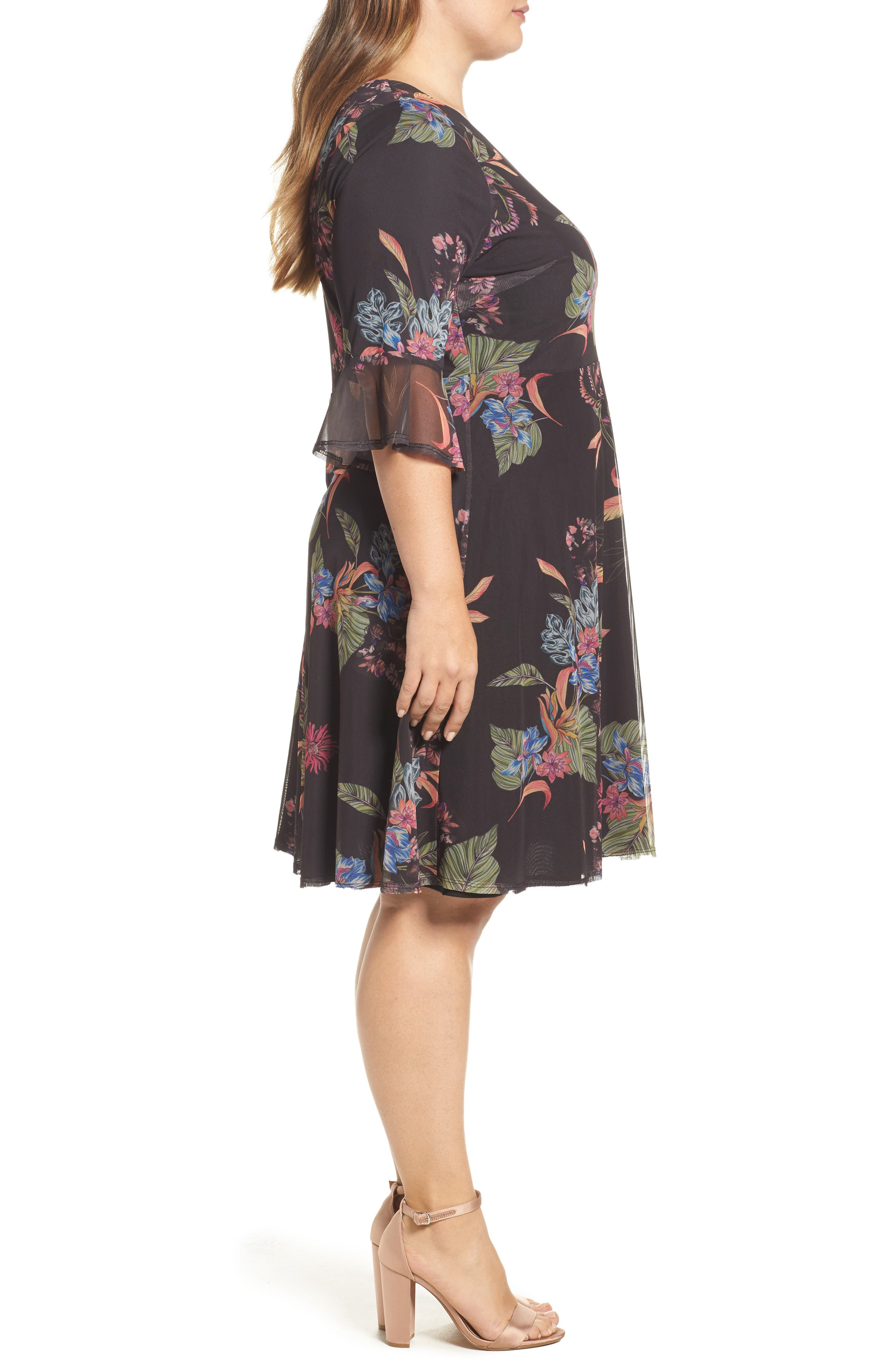 Tropic Print Mesh Dress,                             Alternate thumbnail 3, color,                             Dark Multi