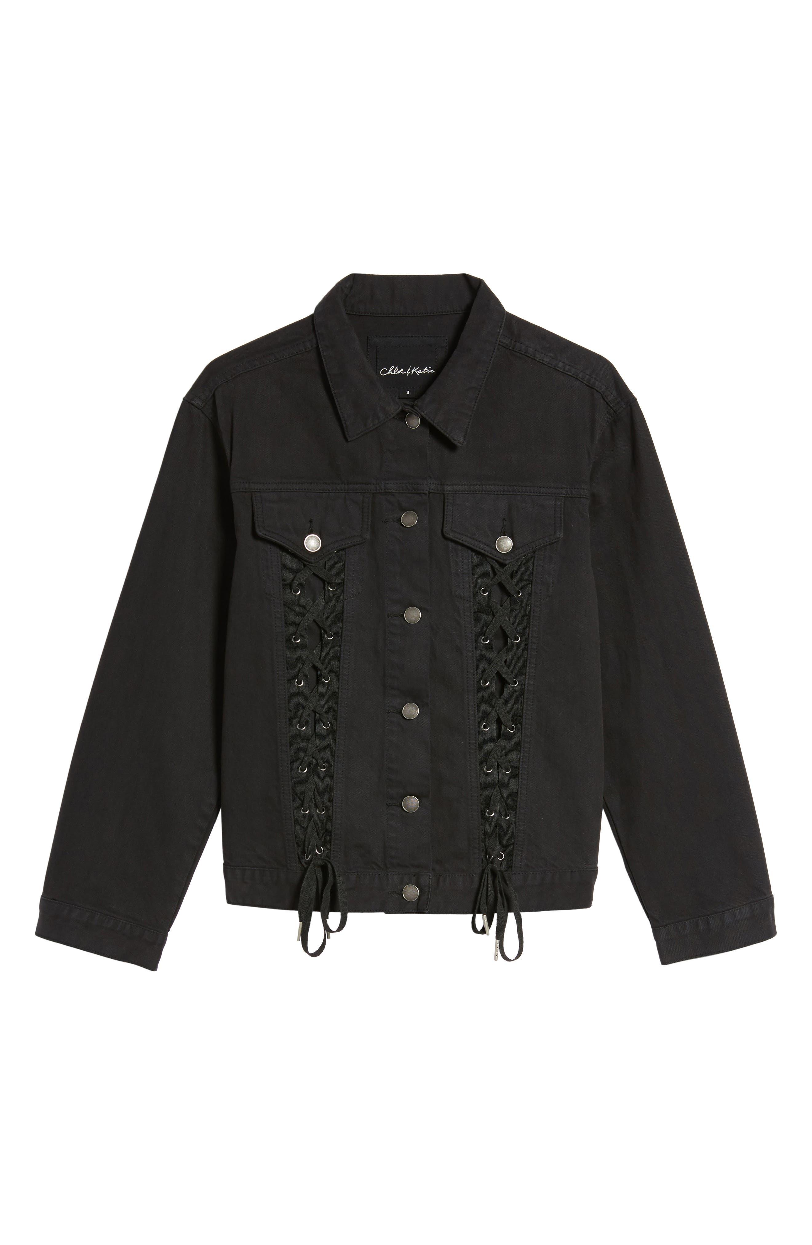 Lace-Up Denim Jacket,                             Alternate thumbnail 6, color,                             Black