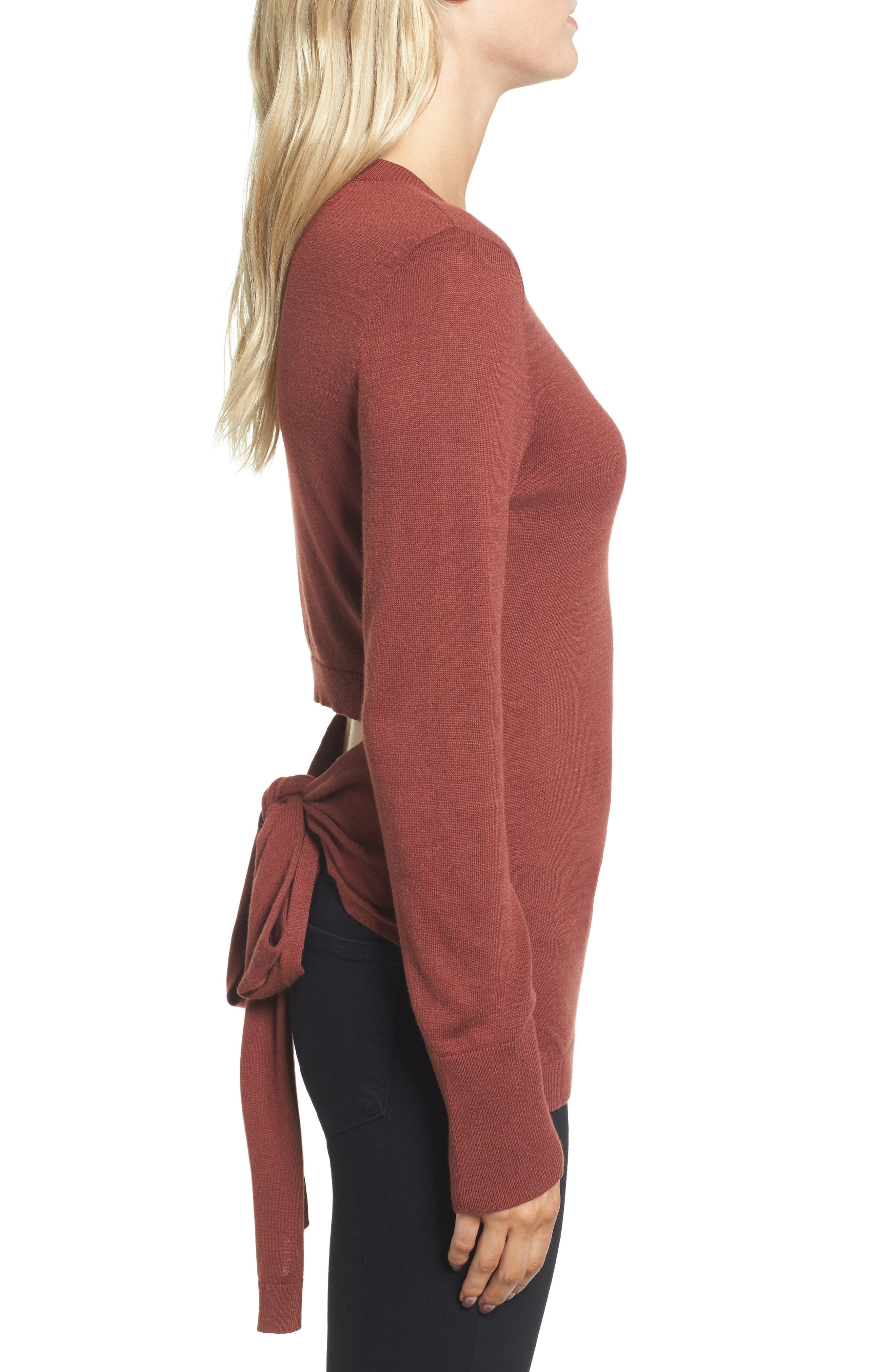 Tie Back Sweater,                             Alternate thumbnail 3, color,                             Rust Madder