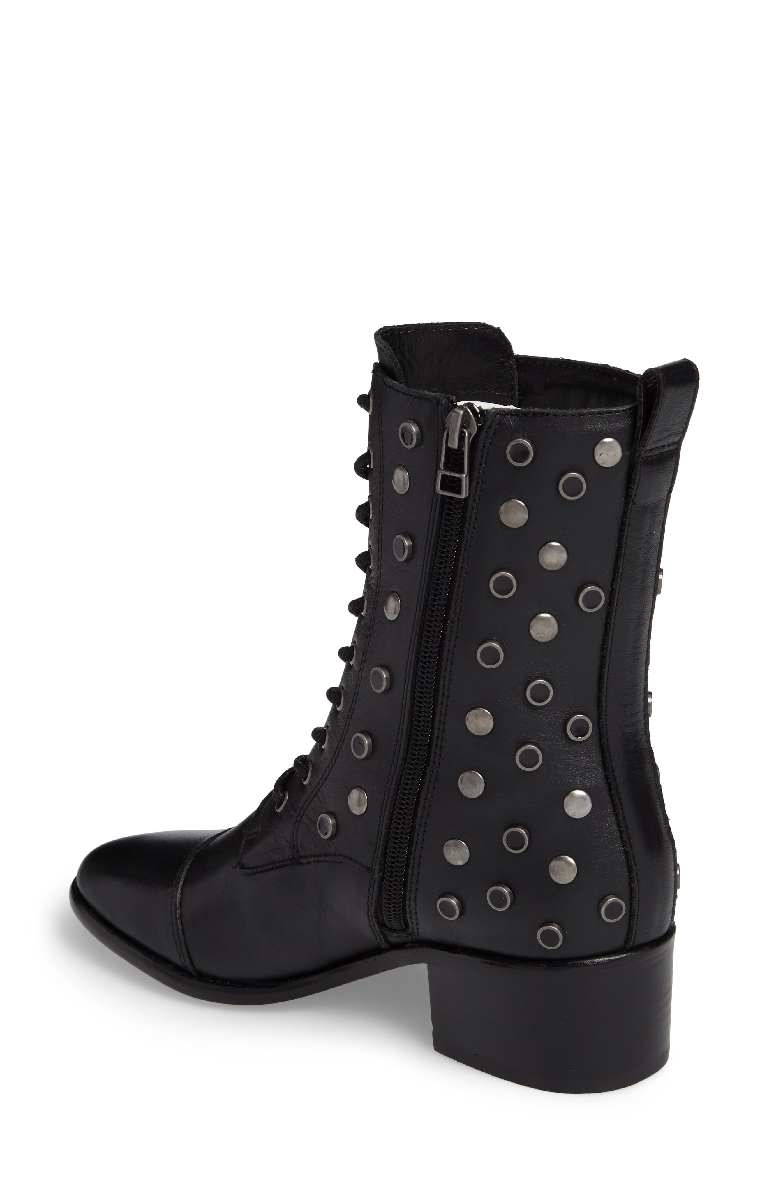 M4D3 Grazie Embellished Water Resistant Boot,                             Alternate thumbnail 2, color,                             Black Leather