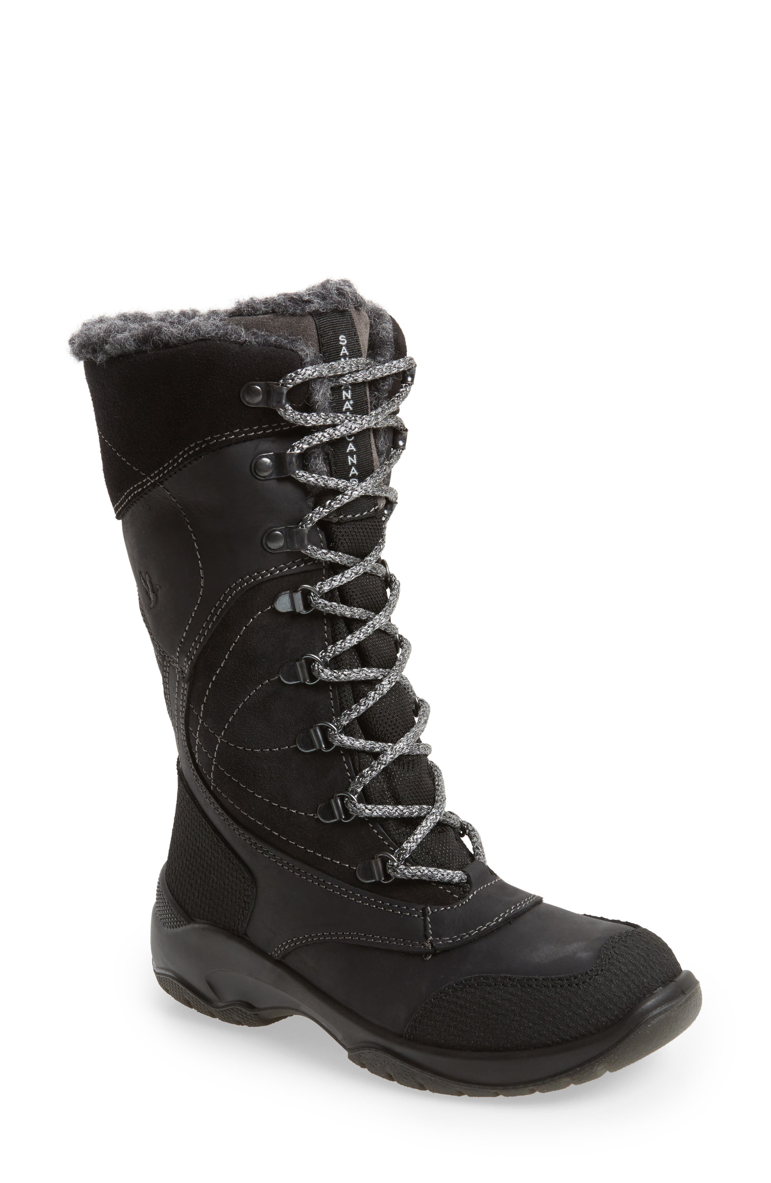 Topspeed Faux Fur Lined Waterproof Boot,                         Main,                         color, Black Leather