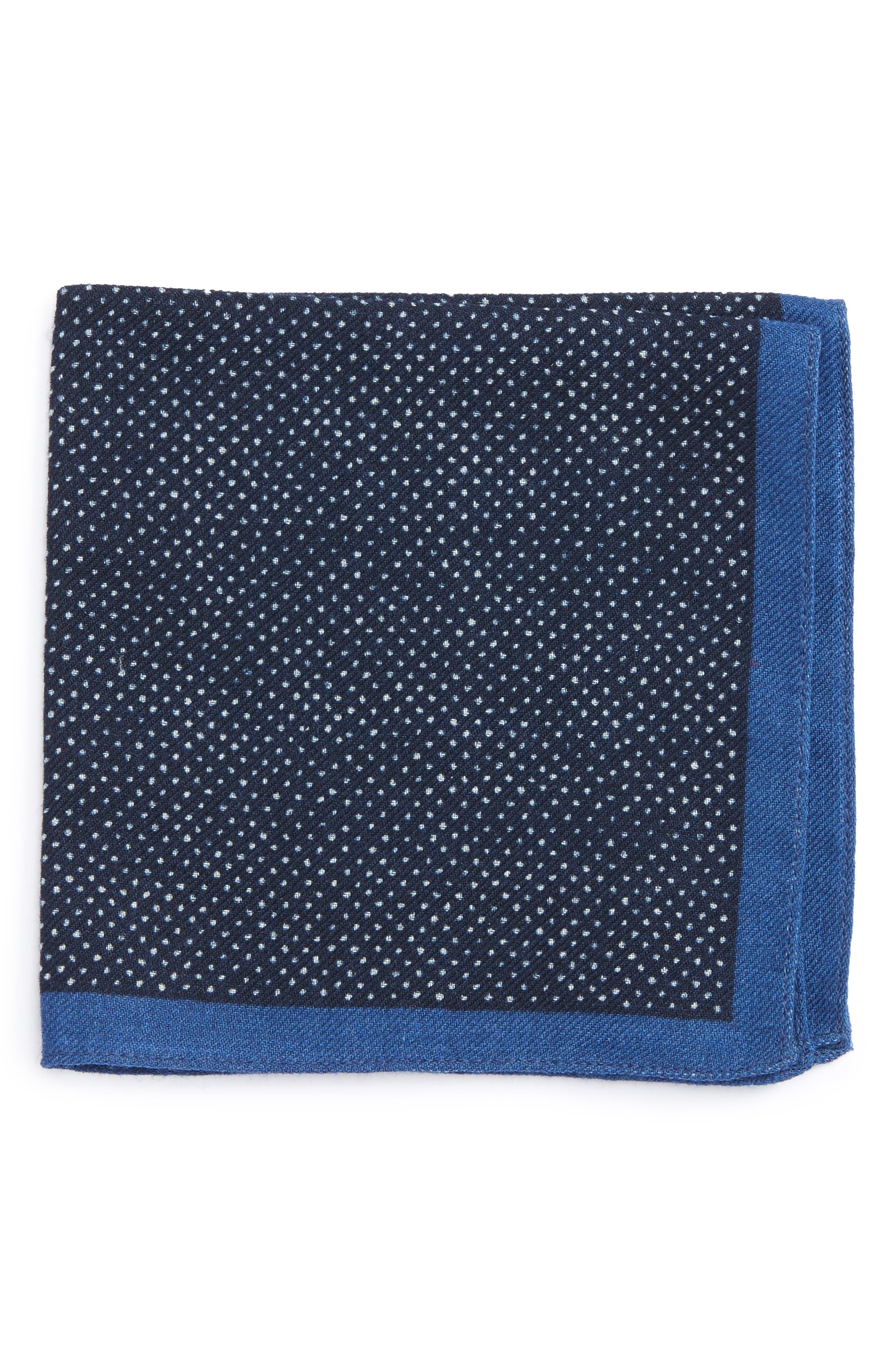 Dot Wool Pocket Square,                         Main,                         color, Navy