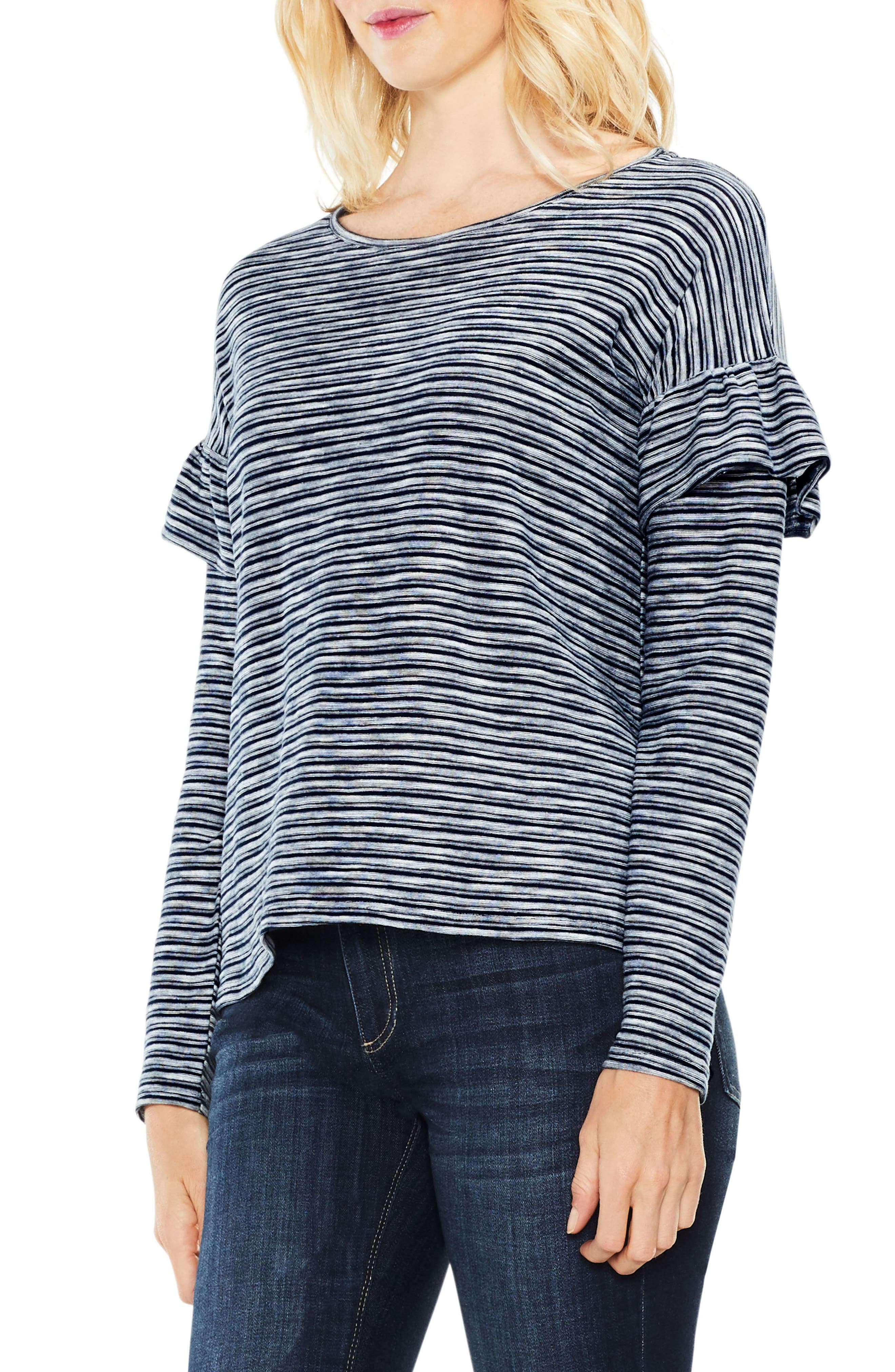 Alternate Image 1 Selected - Two by Vince Camuto Long Sleeve Ruffle Shoulder Top
