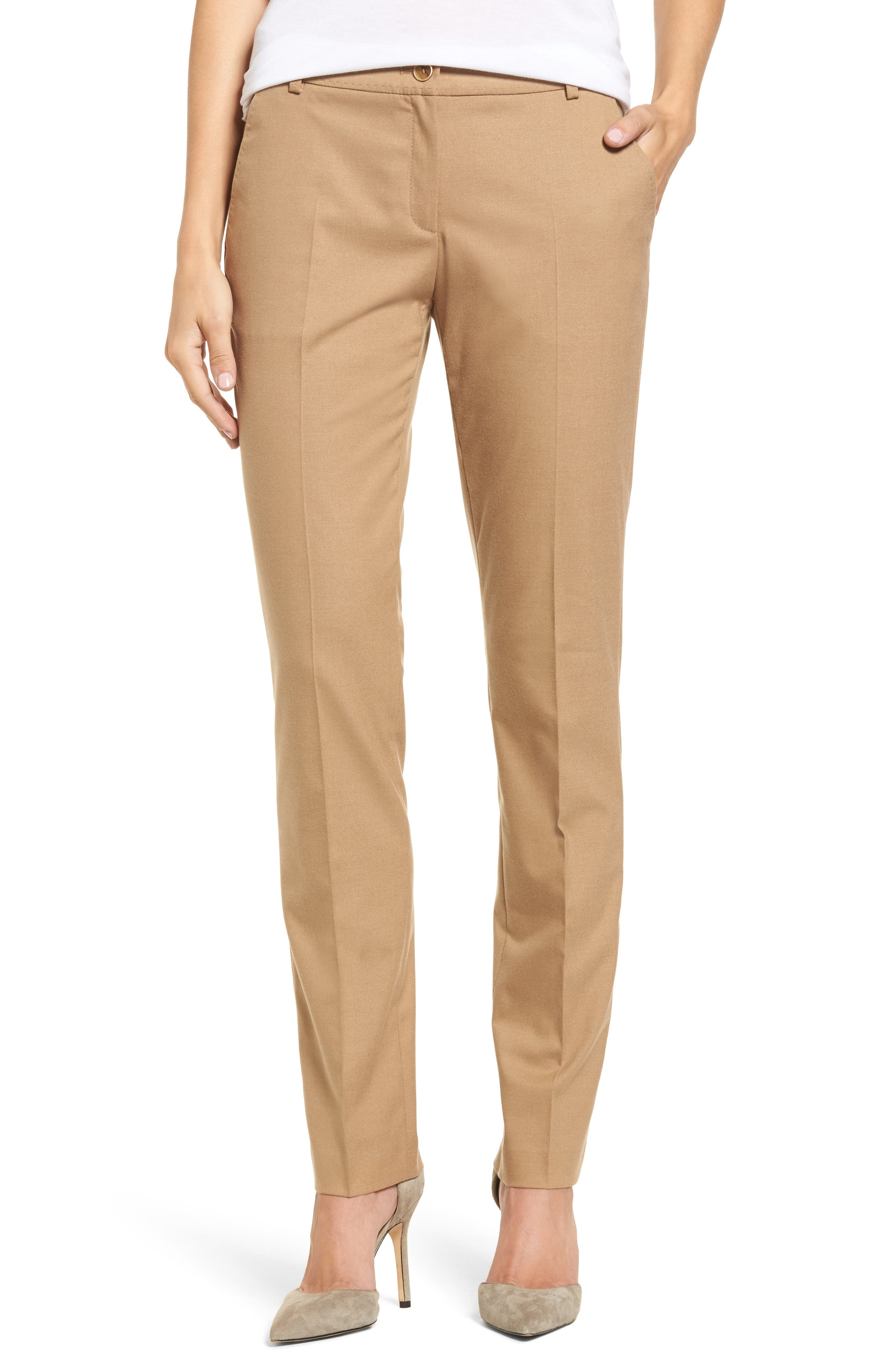 Straight Leg Trousers,                         Main,                         color, Camel