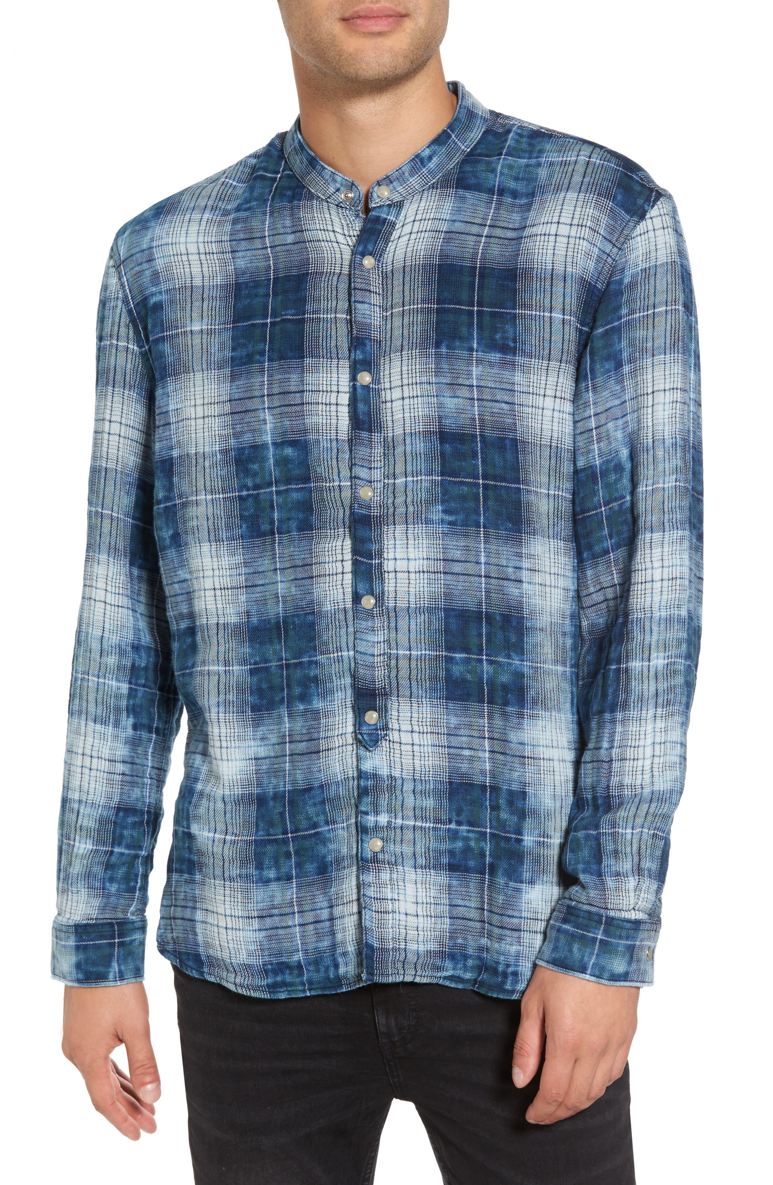 Check Band Collar Sport Shirt,                         Main,                         color, Indigo