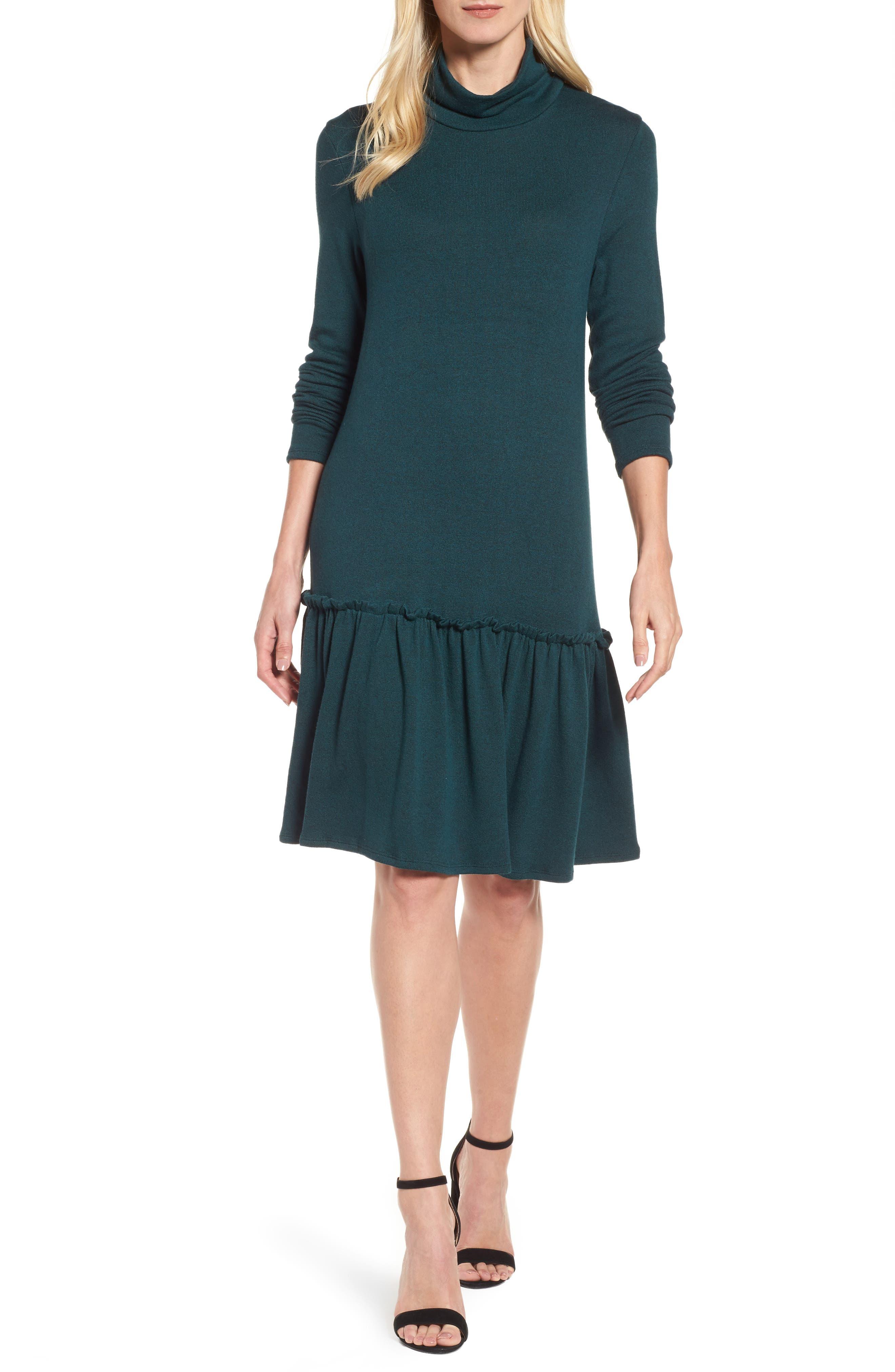 Ruffle Hem Turtleneck Dress,                         Main,                         color, Green
