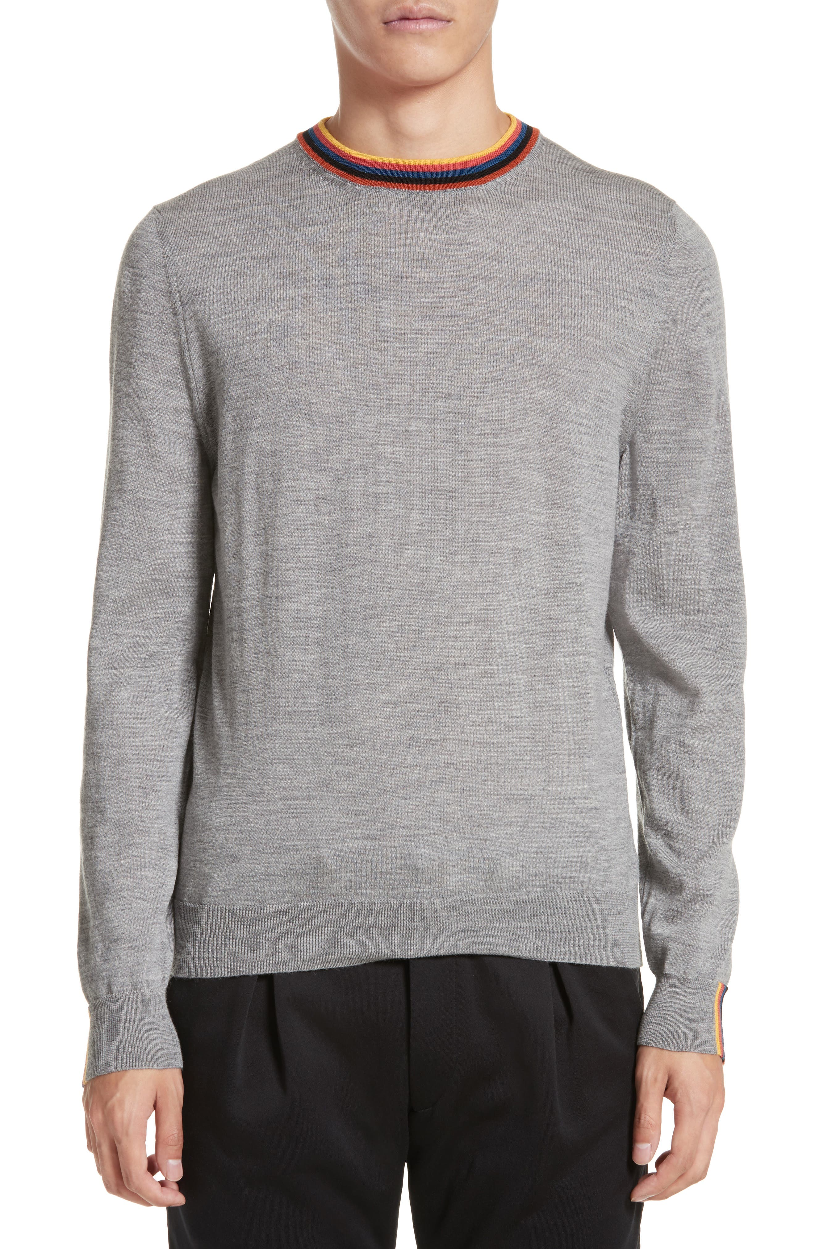Artist Stripe Merino Wool Sweater,                             Main thumbnail 1, color,                             Grey