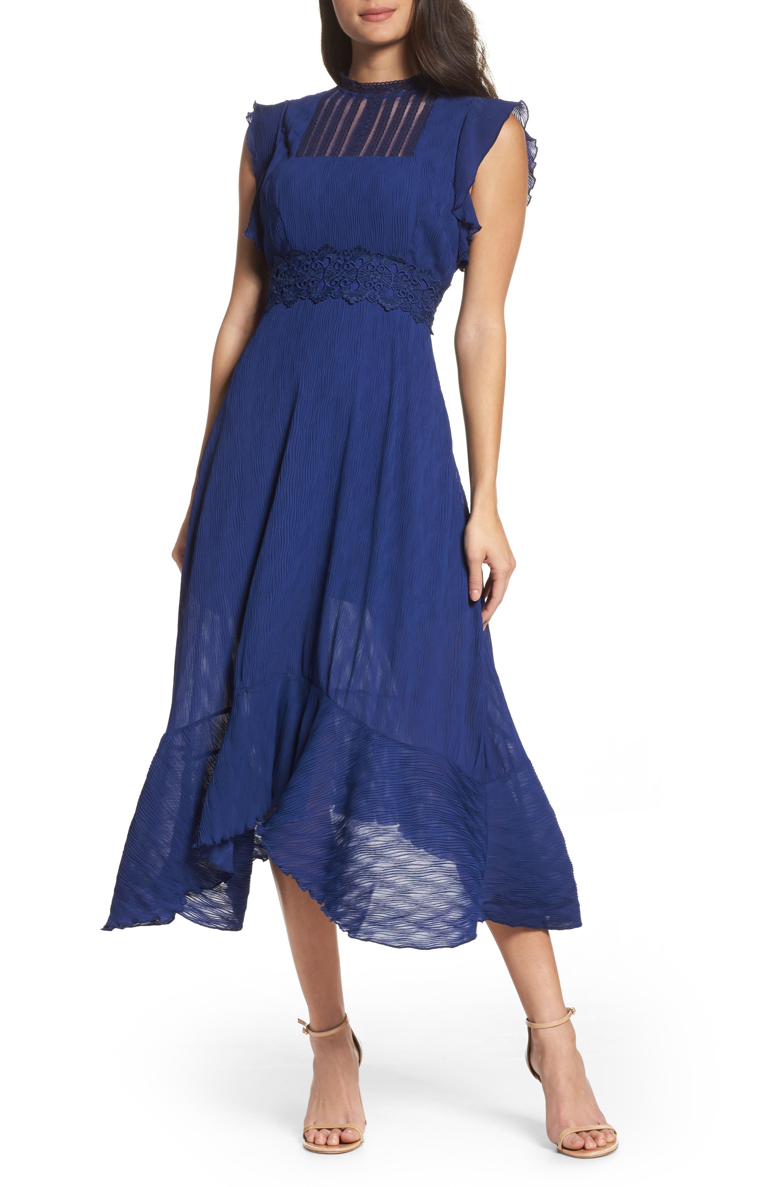 Isadora Lace Trim Pintuck Midi Dress,                         Main,                         color, Royal Blue