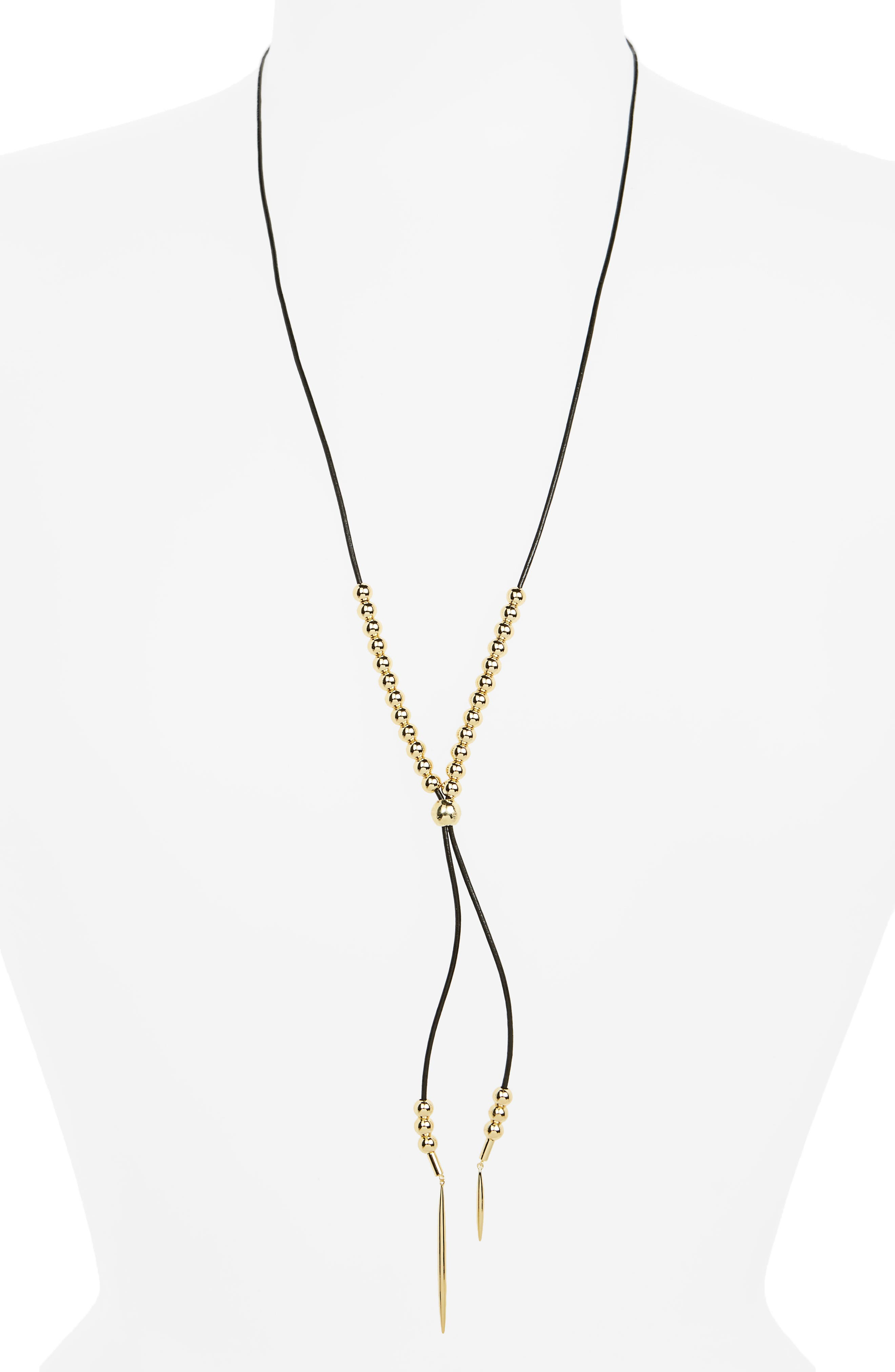 Newport Lariat Necklace,                         Main,                         color, Black / Gold