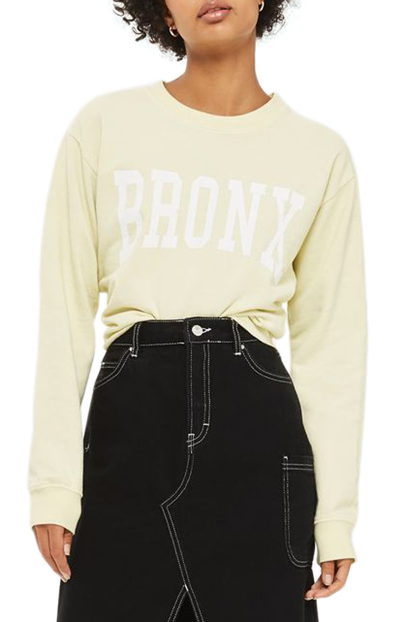 Bronx Cropped Sweatshirt,                         Main,                         color, Yellow