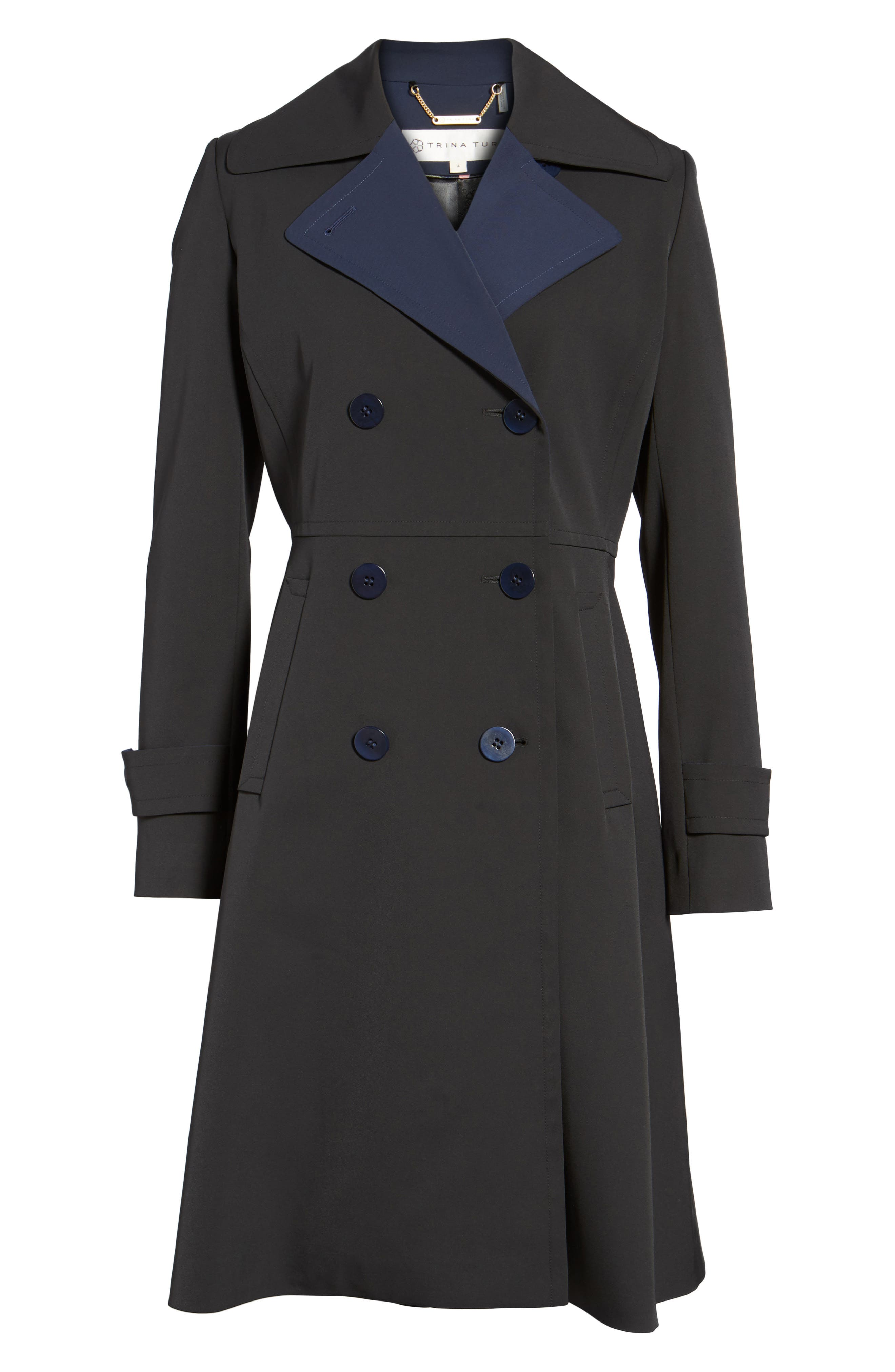 Isabella Two-Tone Double Breasted Trench Raincoat,                             Alternate thumbnail 6, color,                             Black/ Navy