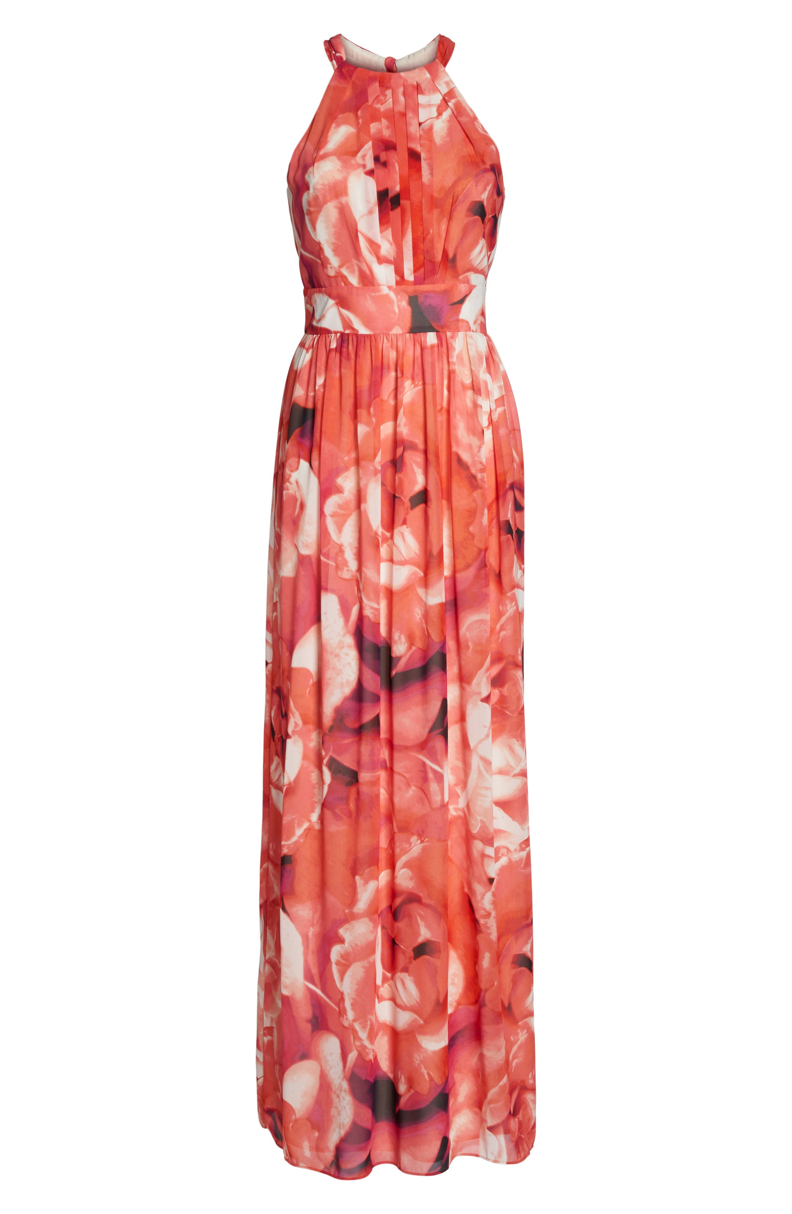 Print Chiffon Fit & Flare Maxi Dress,                             Alternate thumbnail 6, color,                             Pink