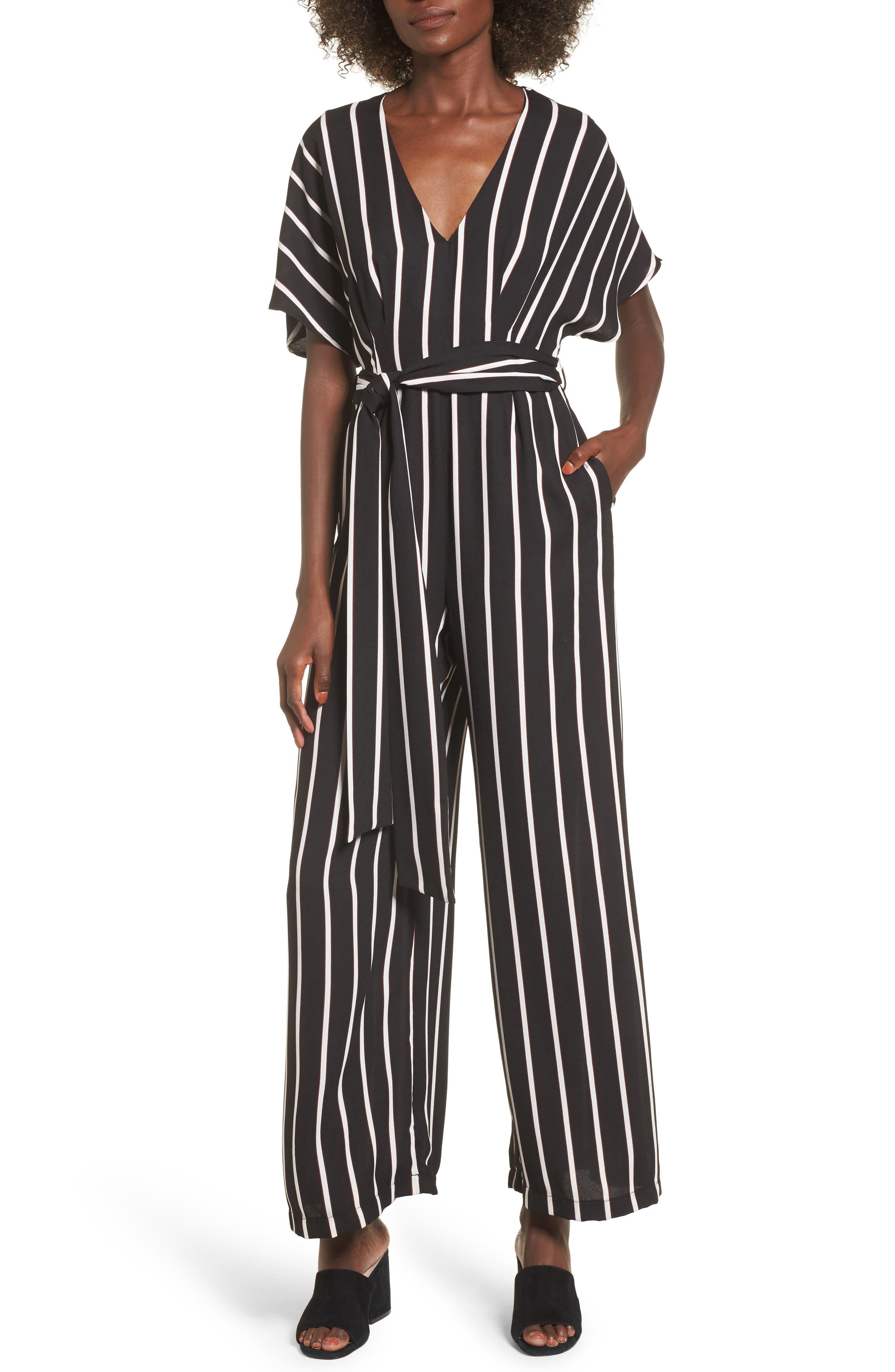 Tie Waist Wide Leg Jumpsuit,                         Main,                         color, Black Burgundy Stripes