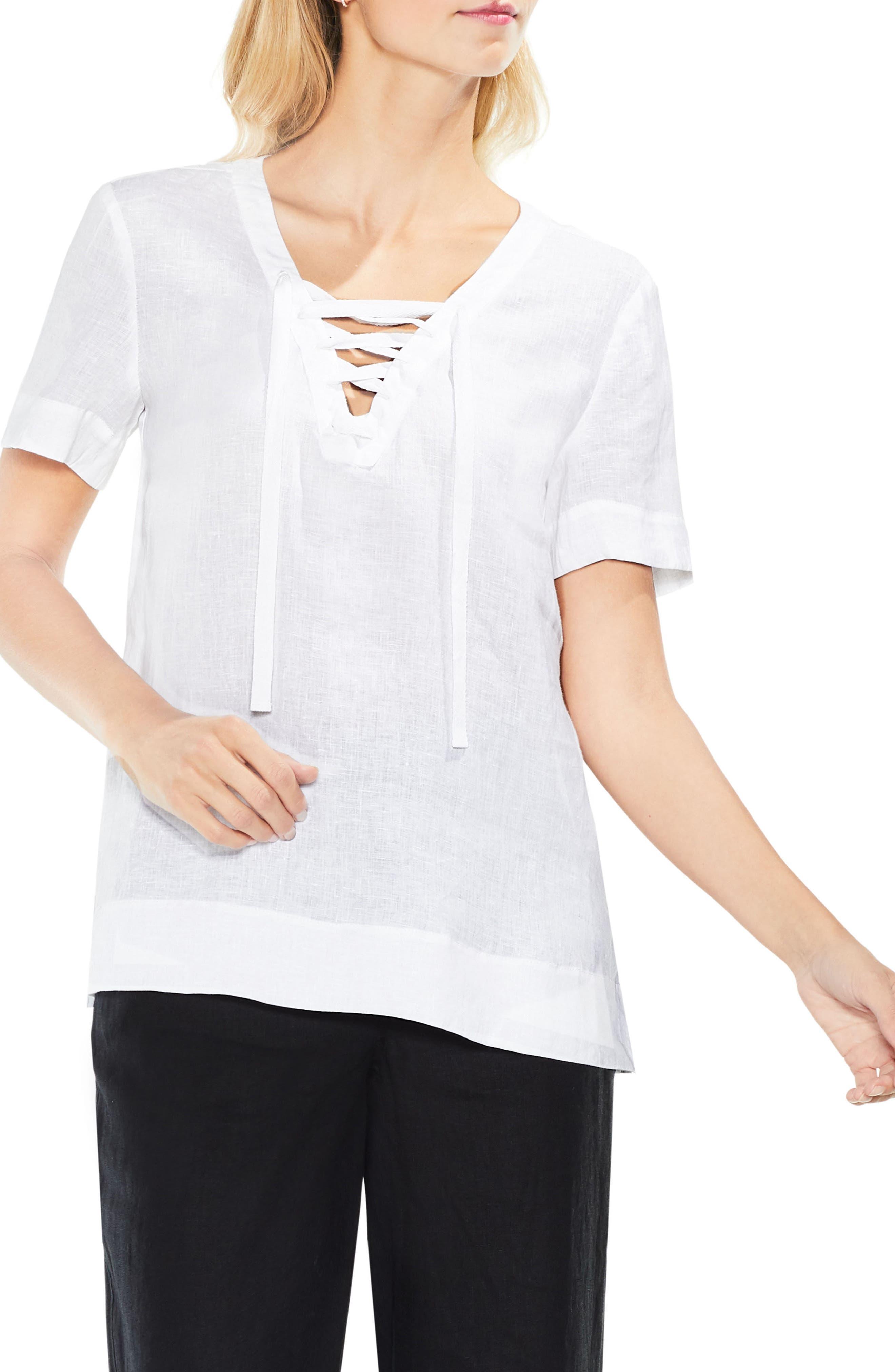 Lace-Up Linen Blouse,                             Main thumbnail 1, color,                             Ultra White