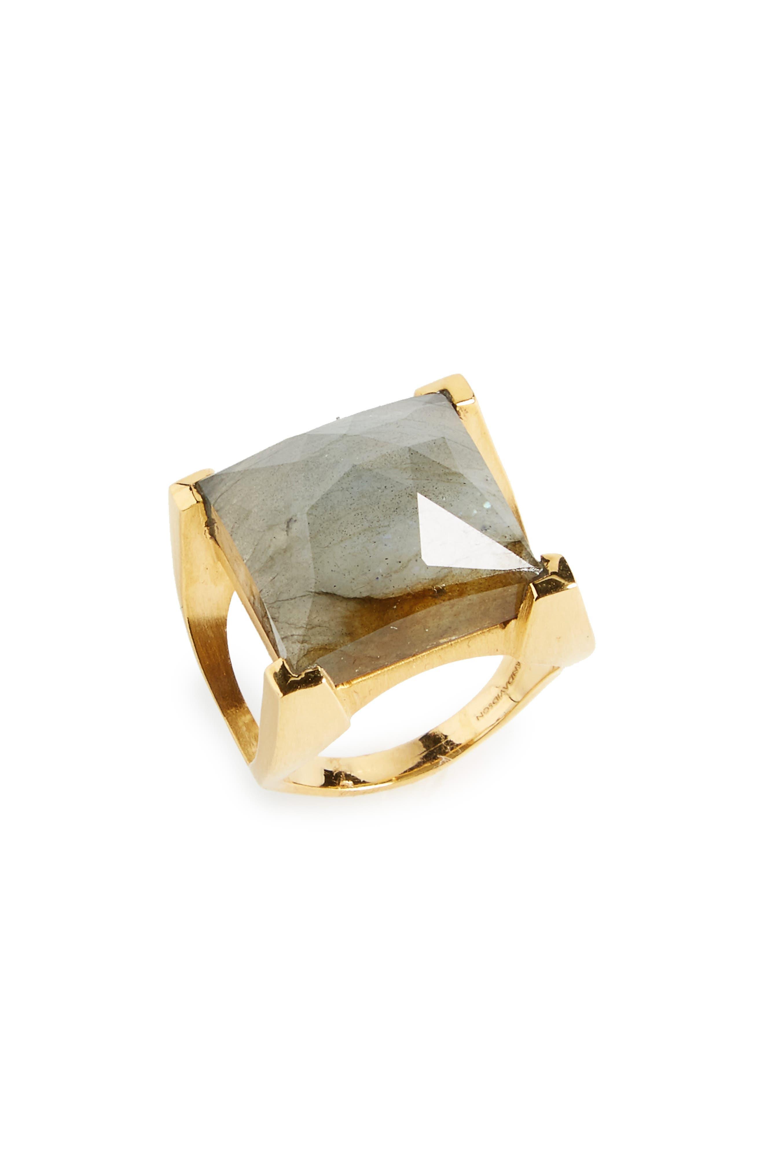 Semiprecious Stone Ring,                         Main,                         color, Labradorite/ Gold