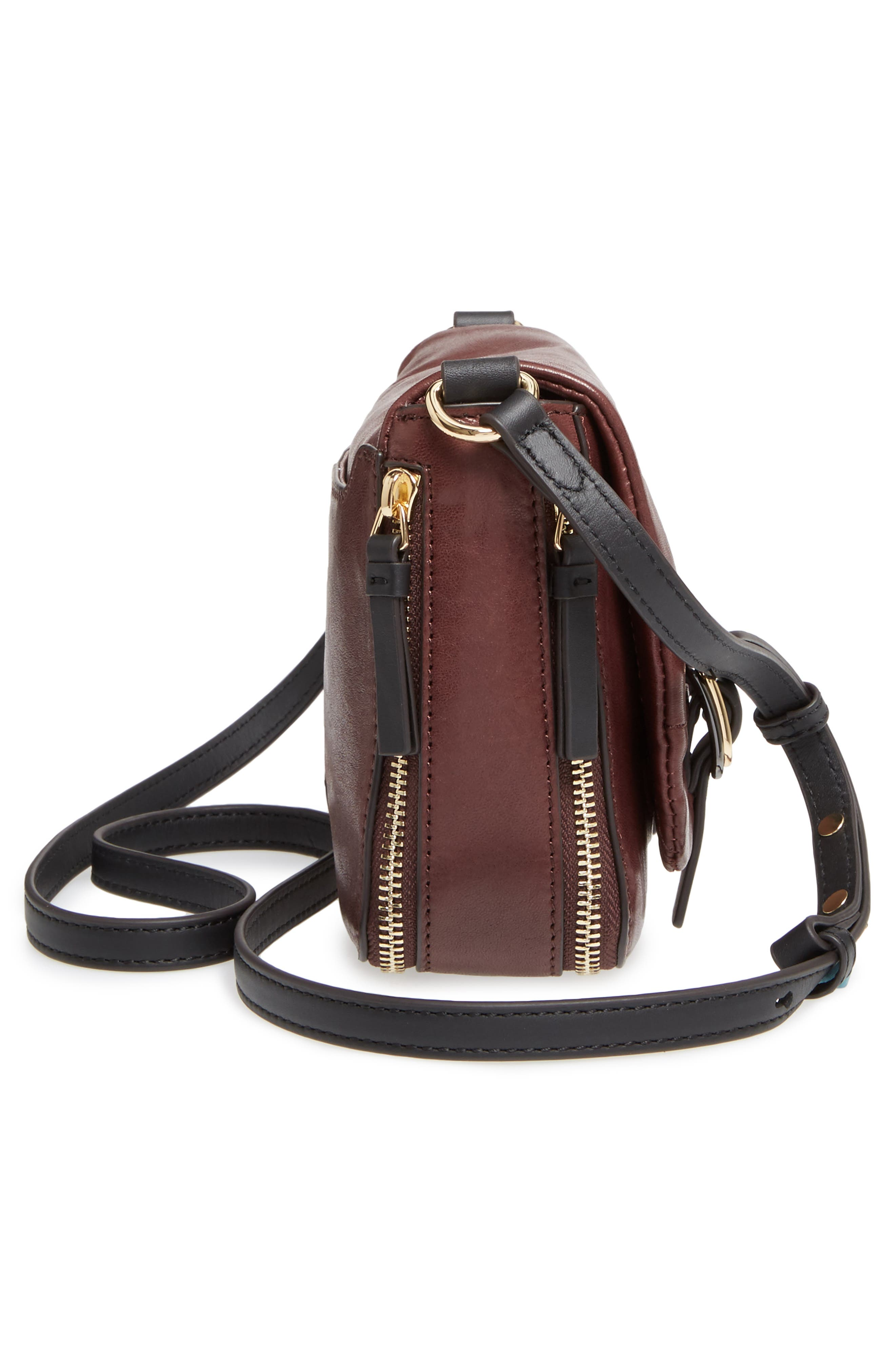 Delos Leather Crossbody Bag,                             Alternate thumbnail 4, color,                             Black Cherry