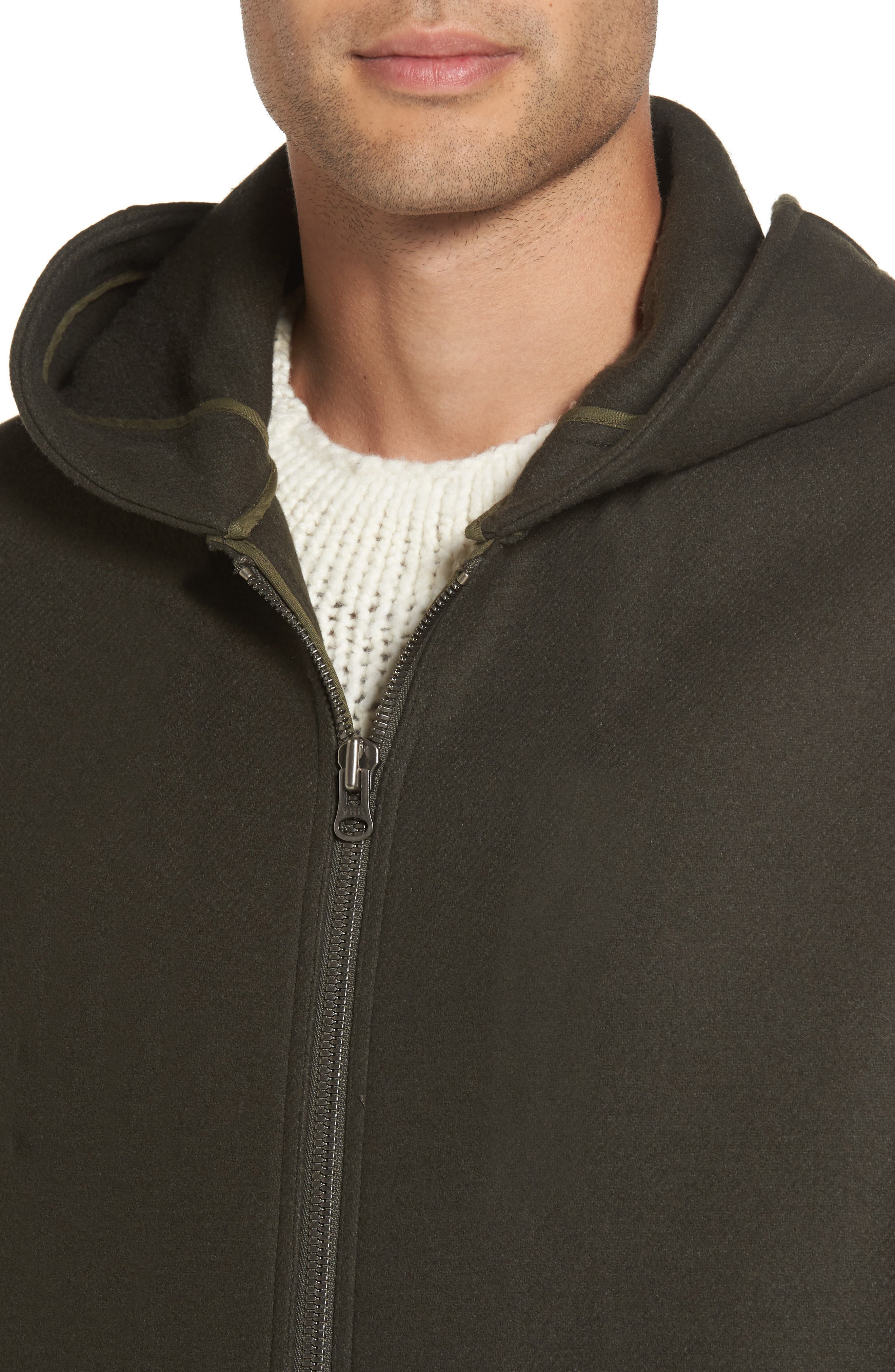 Fleece Zip Hoodie,                             Alternate thumbnail 4, color,                             Olive