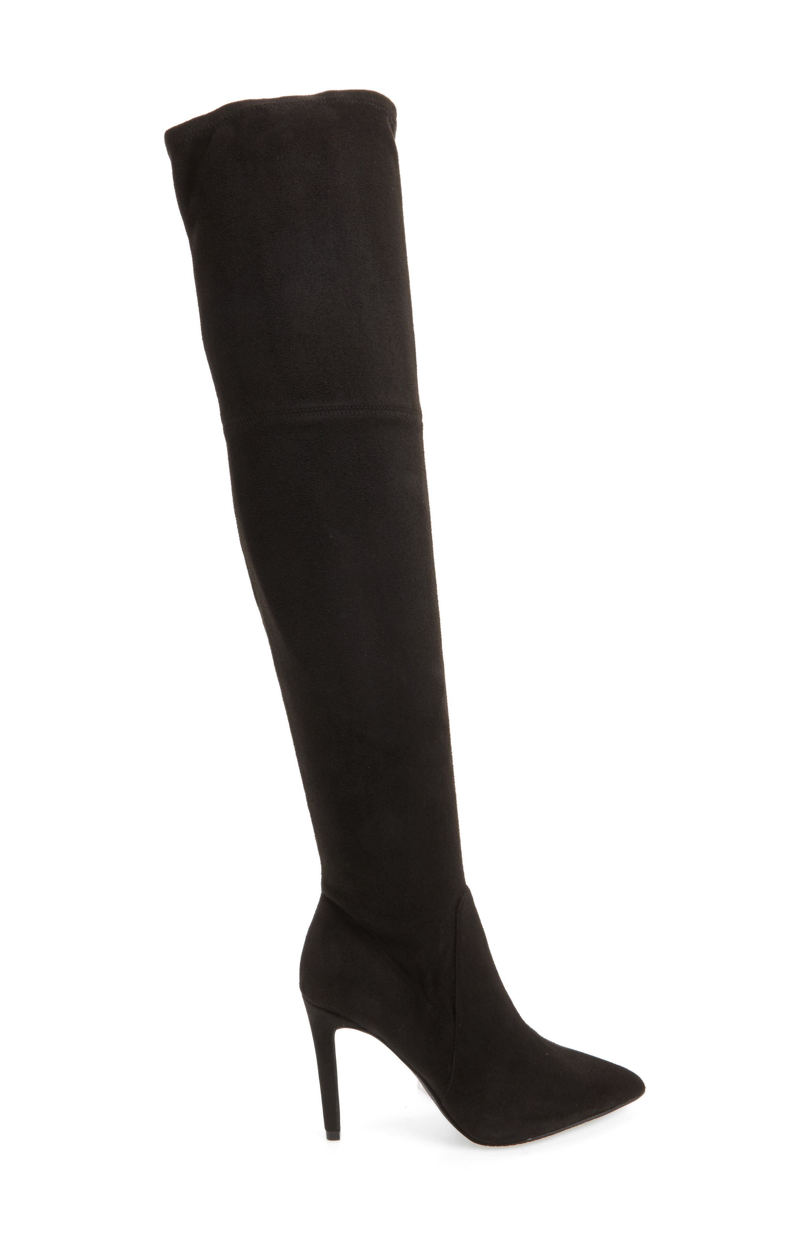 Fab Nara Over the Knee Boot,                             Alternate thumbnail 3, color,                             Black Stretch Faux Suede