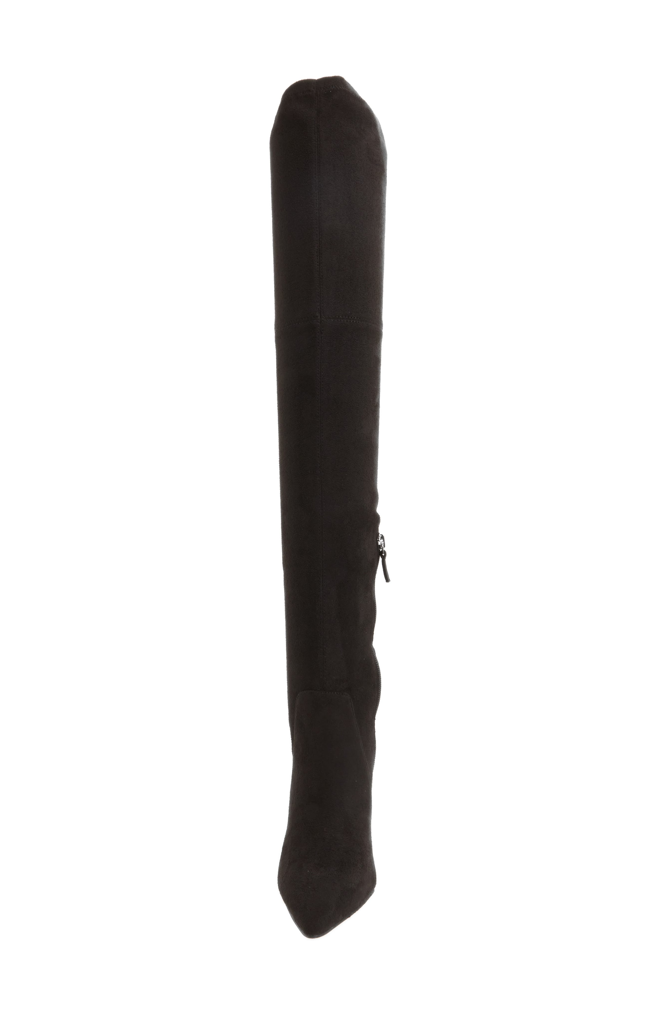 Fab Nara Over the Knee Boot,                             Alternate thumbnail 4, color,                             Black Stretch Faux Suede