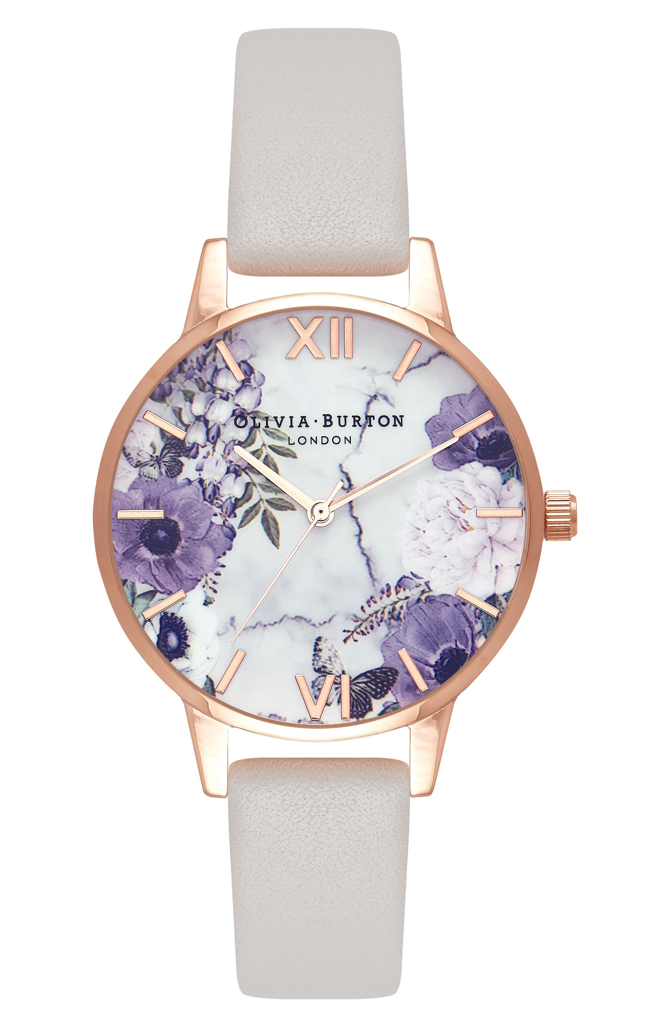 Olivia Burton Marble Floral Leather Strap Watch, 30mm