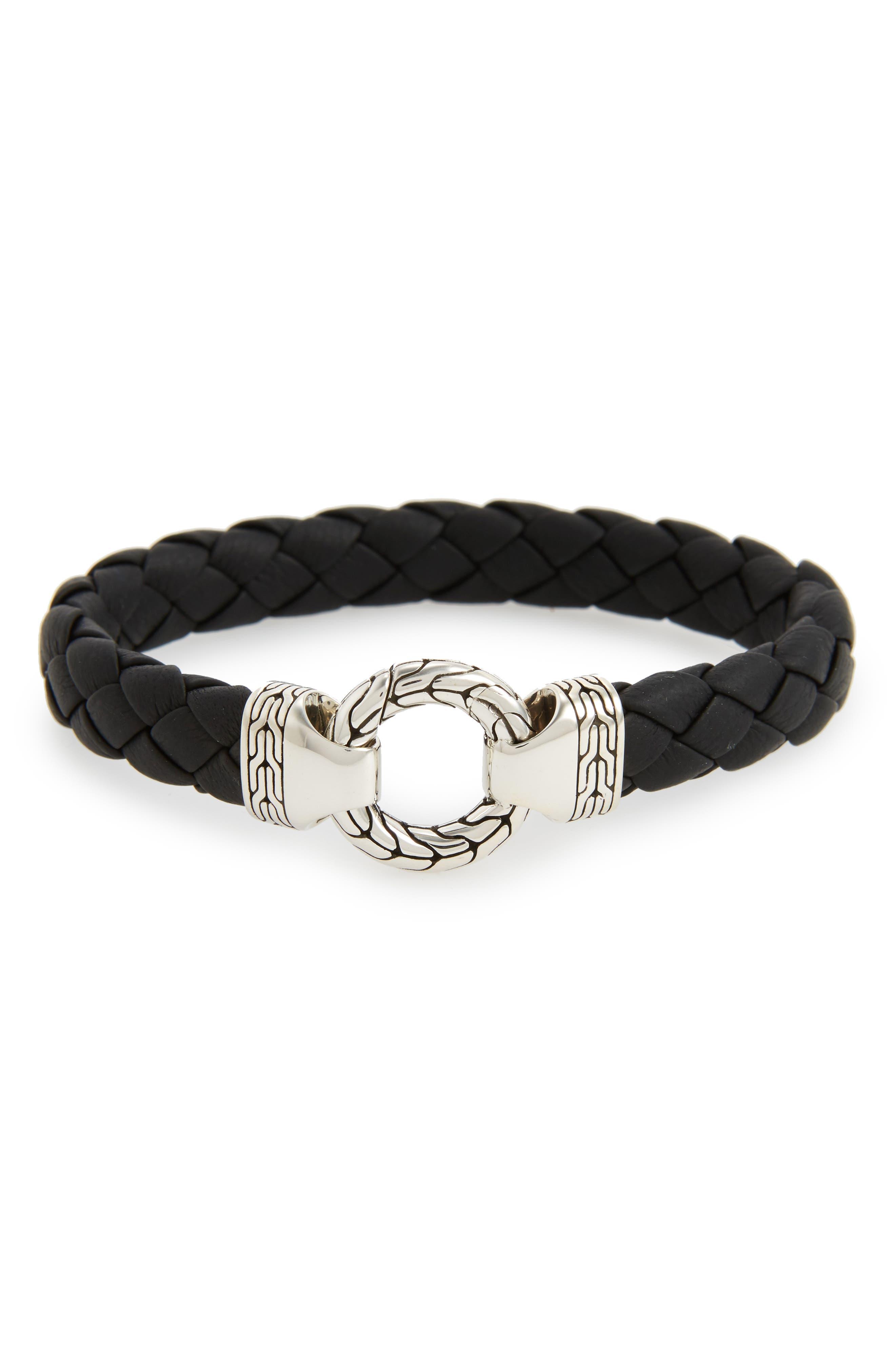 Classic Chain Silver Bracelet,                             Main thumbnail 1, color,                             Black