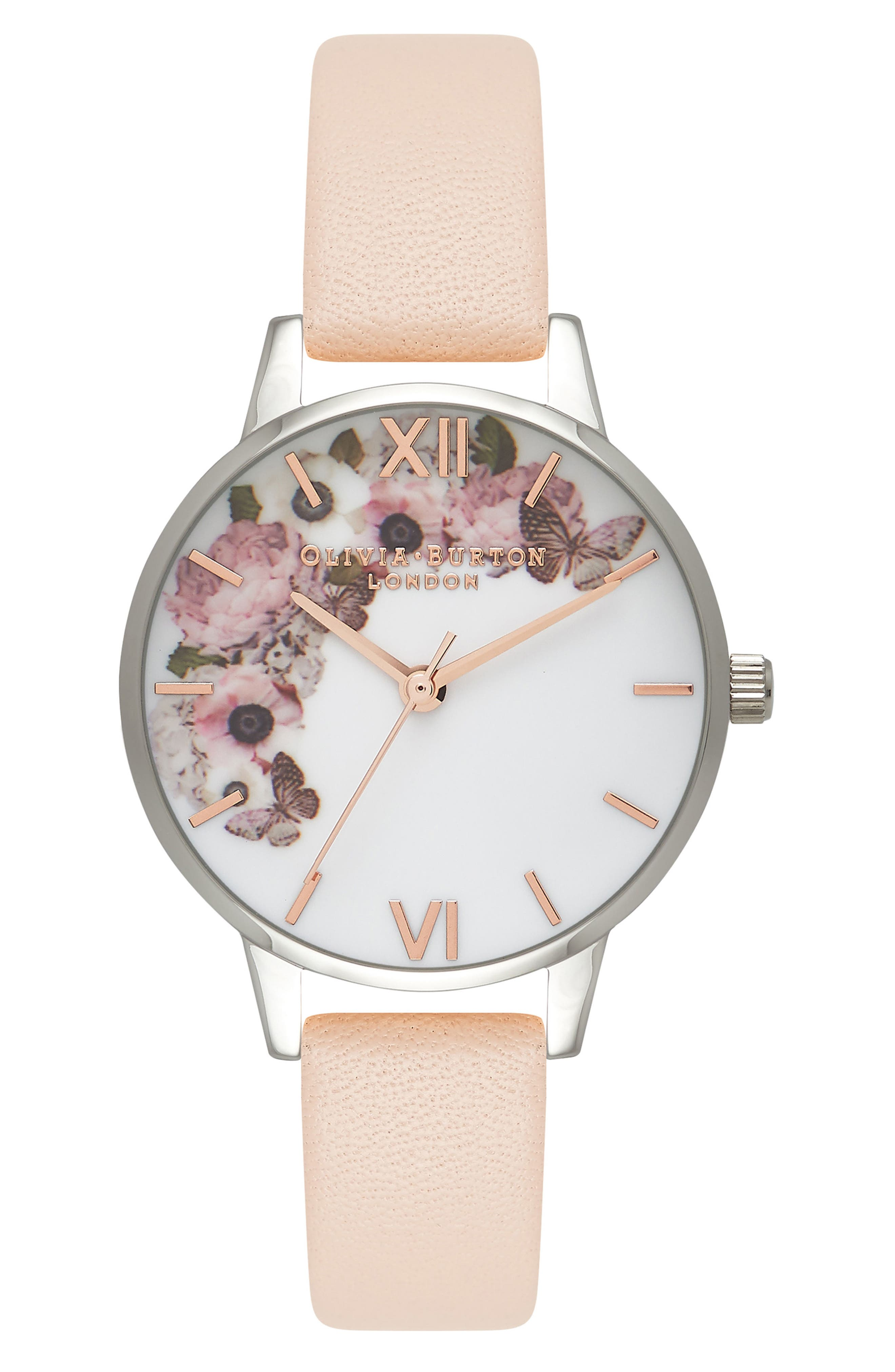 Enchanted Garden Leather Strap Watch, 30mm,                         Main,                         color, Nude Peach/ Rose Gold/ Silver