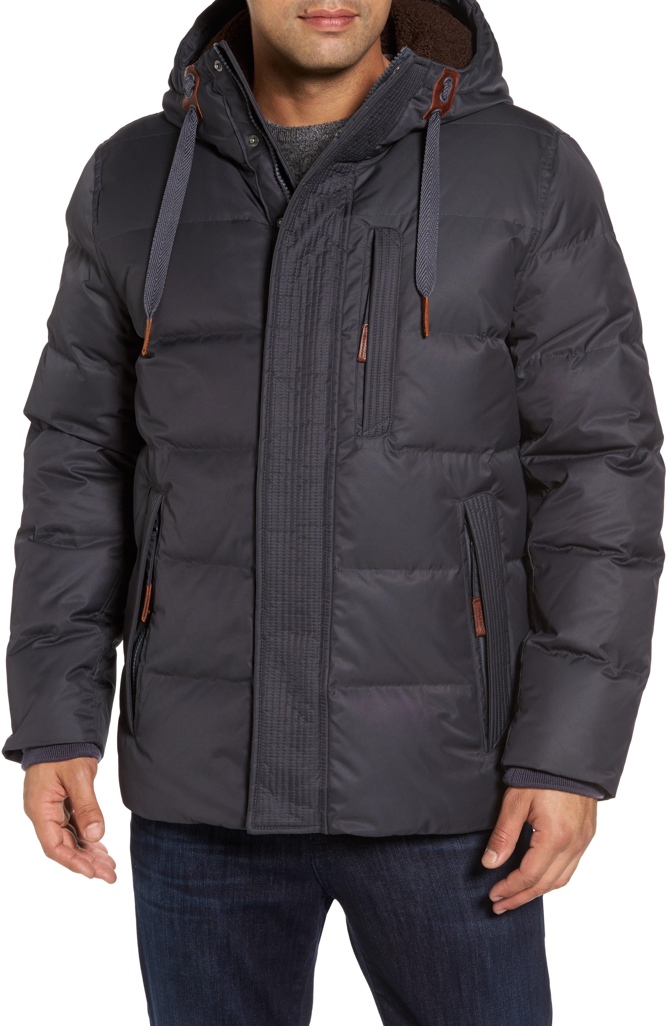 Alternate Image 1 Selected - Andrew Marc Groton Slim Down Jacket with Faux Shearling Lining