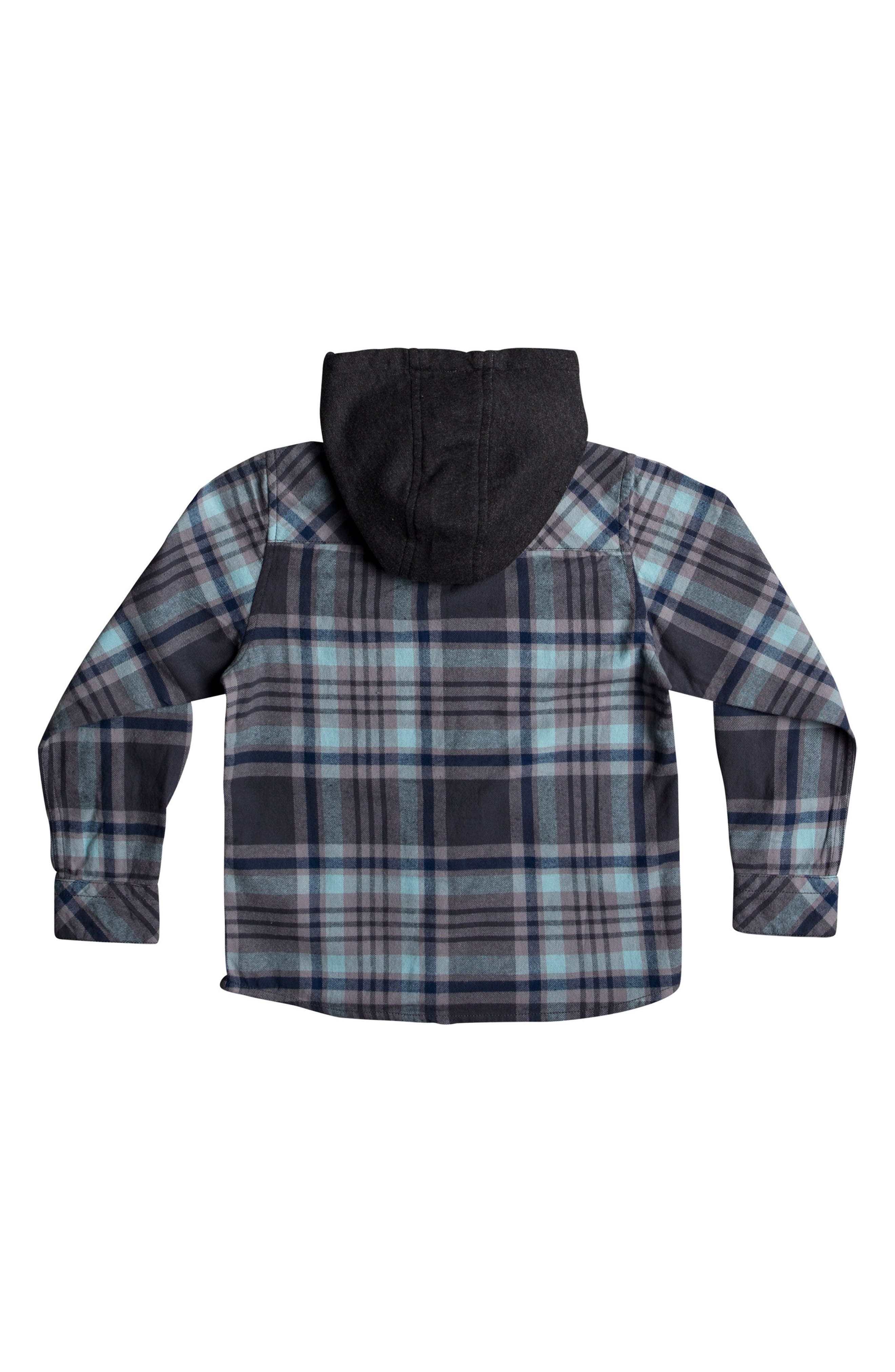 Hooded Plaid Flannel Shirt,                             Alternate thumbnail 2, color,                             Blue Light