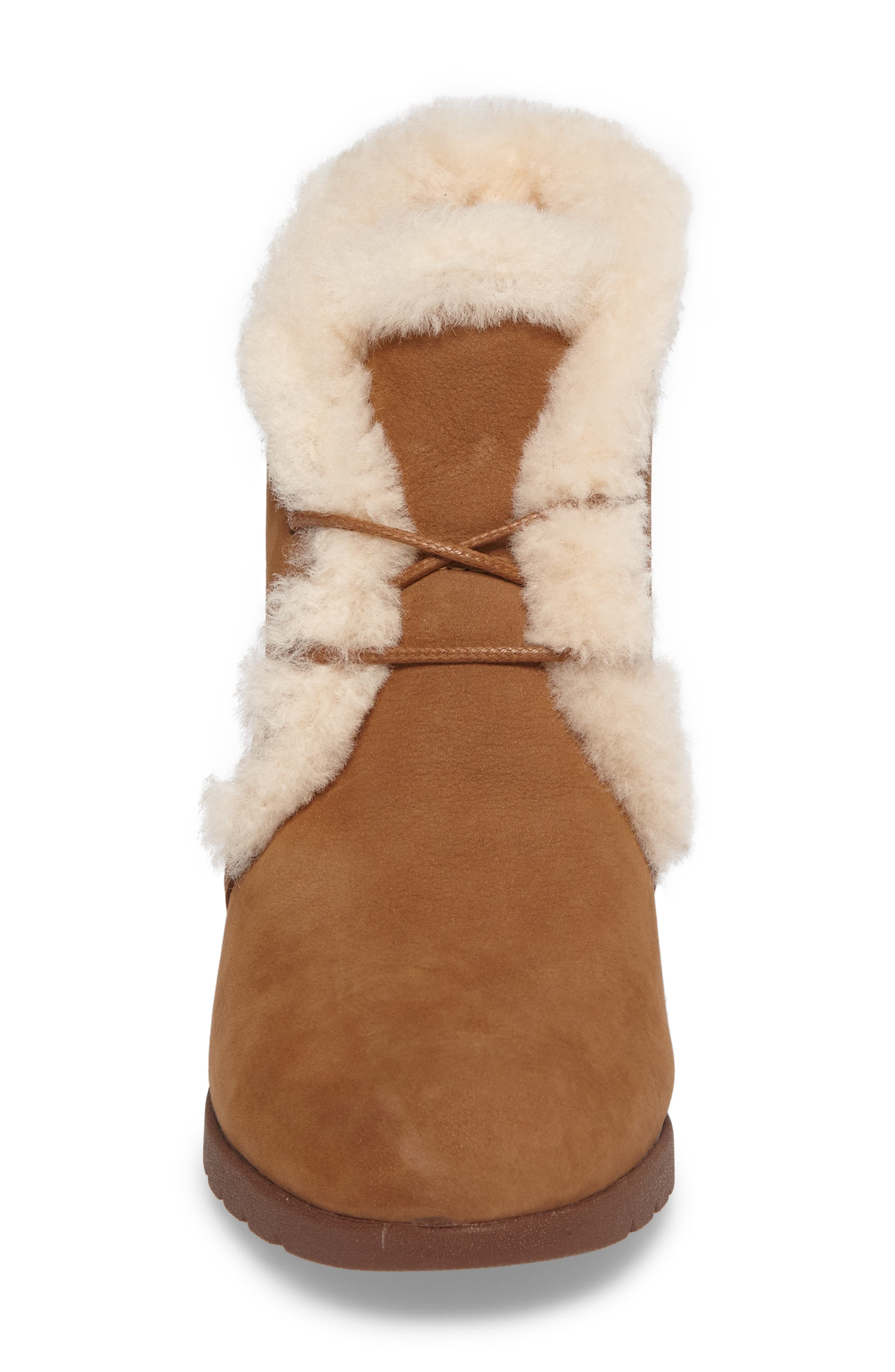 Jeovana Genuine Shearling Lined Boot,                             Alternate thumbnail 4, color,                             Chestnut Suede