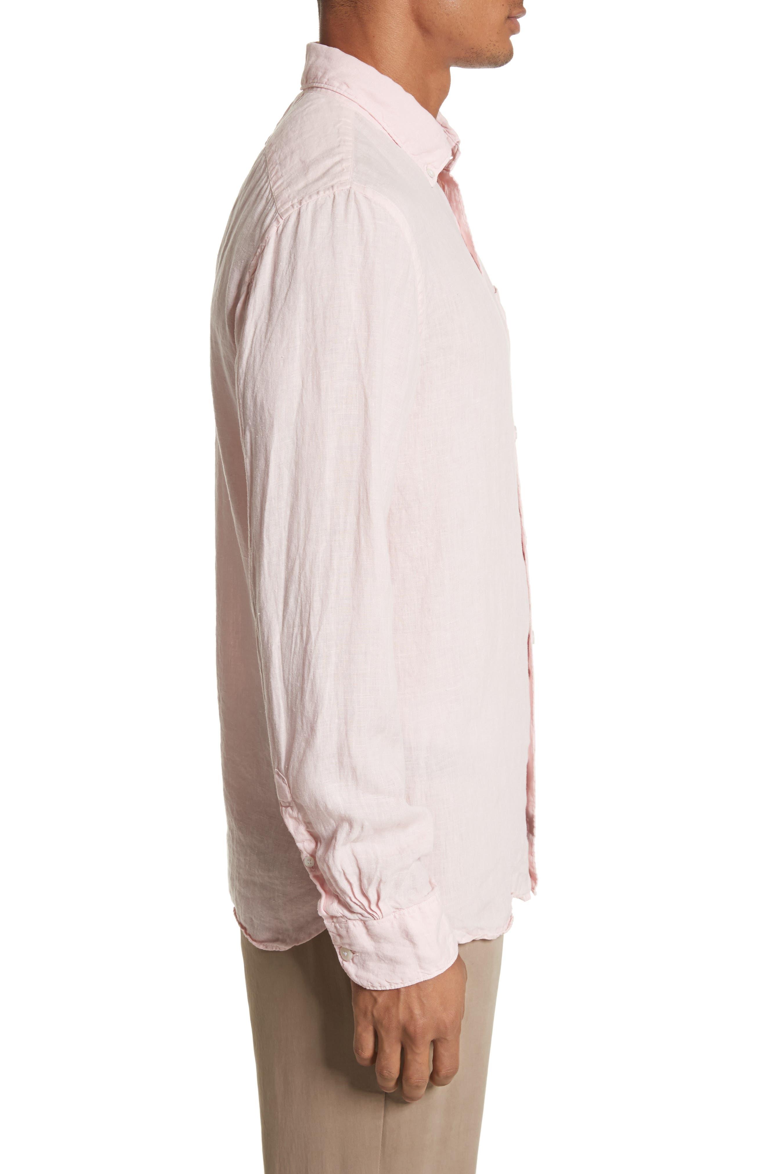 Linen Woven Shirt,                             Alternate thumbnail 3, color,                             Pink