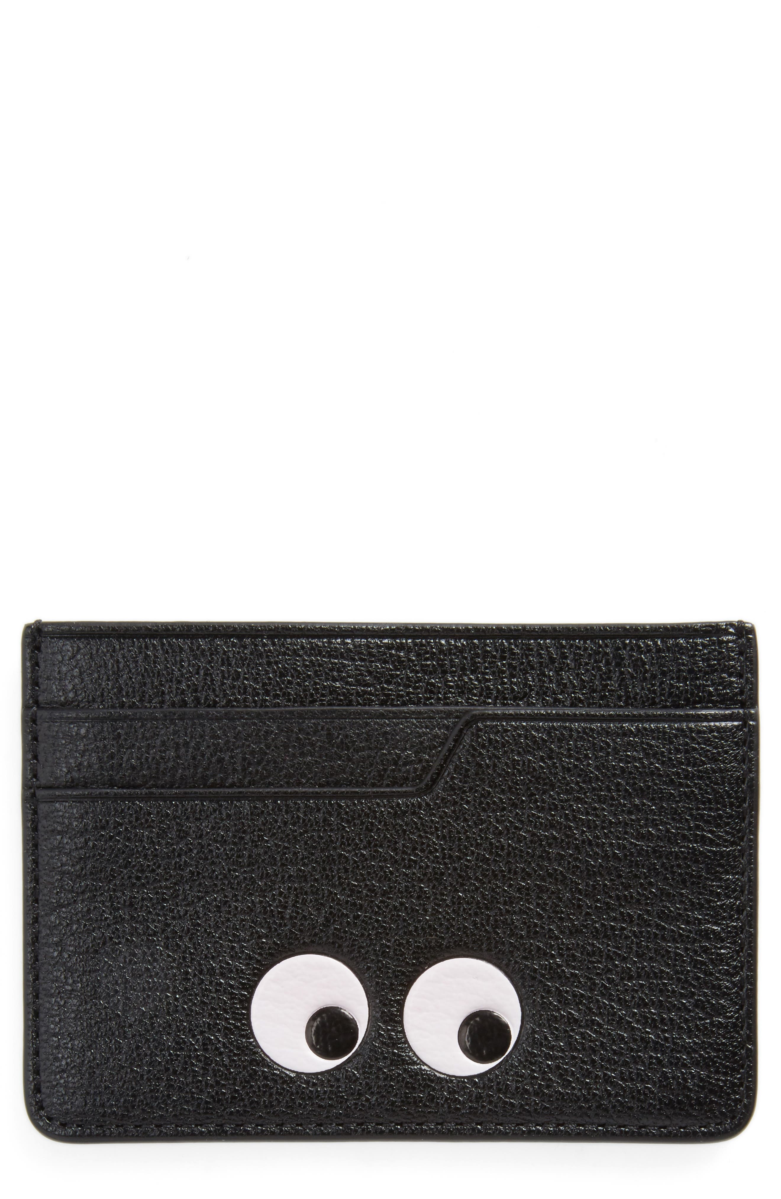 Eyes Leather Card Case,                             Main thumbnail 1, color,                             Black