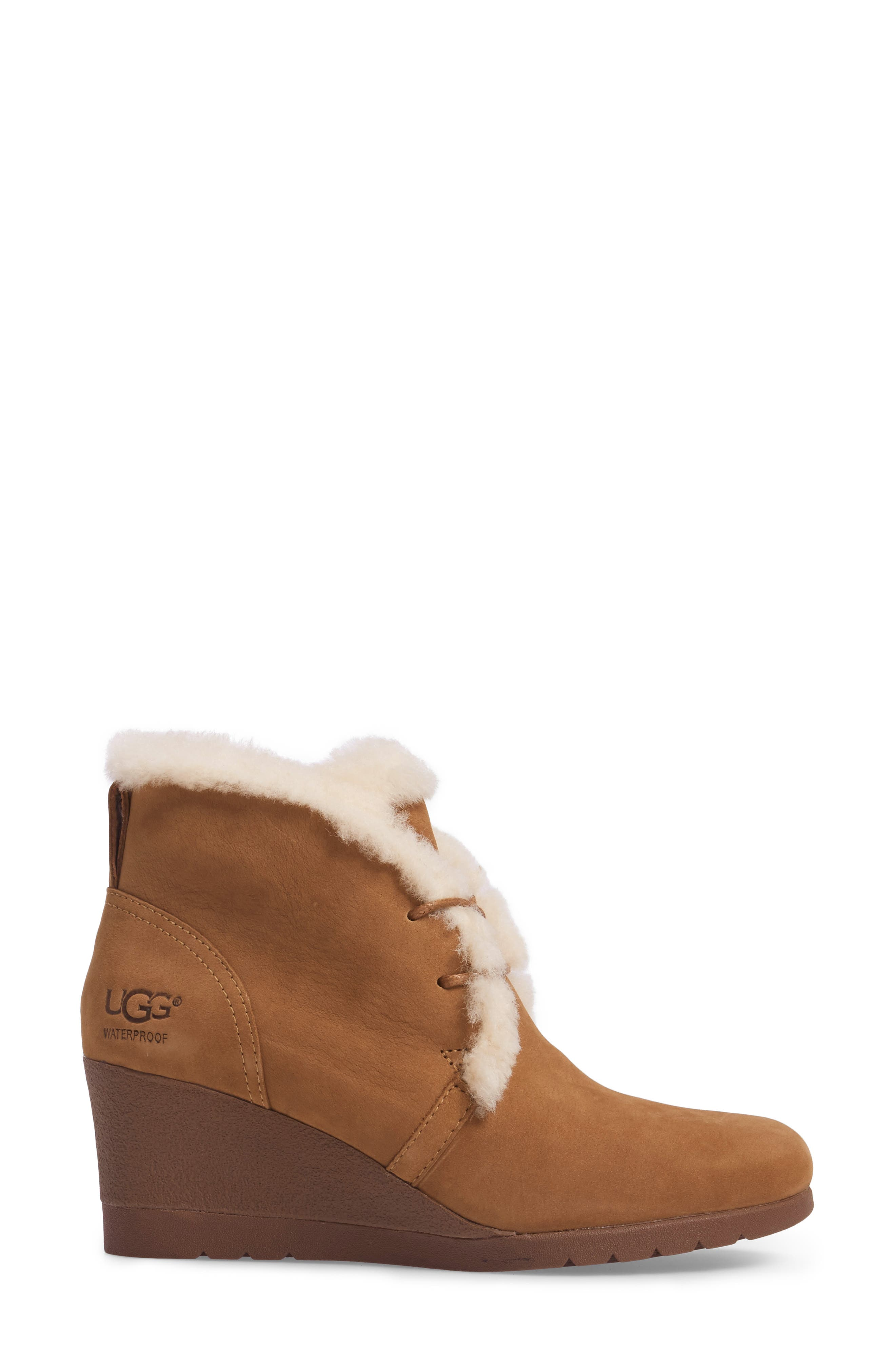 Jeovana Genuine Shearling Lined Boot,                             Alternate thumbnail 3, color,                             Chestnut Suede