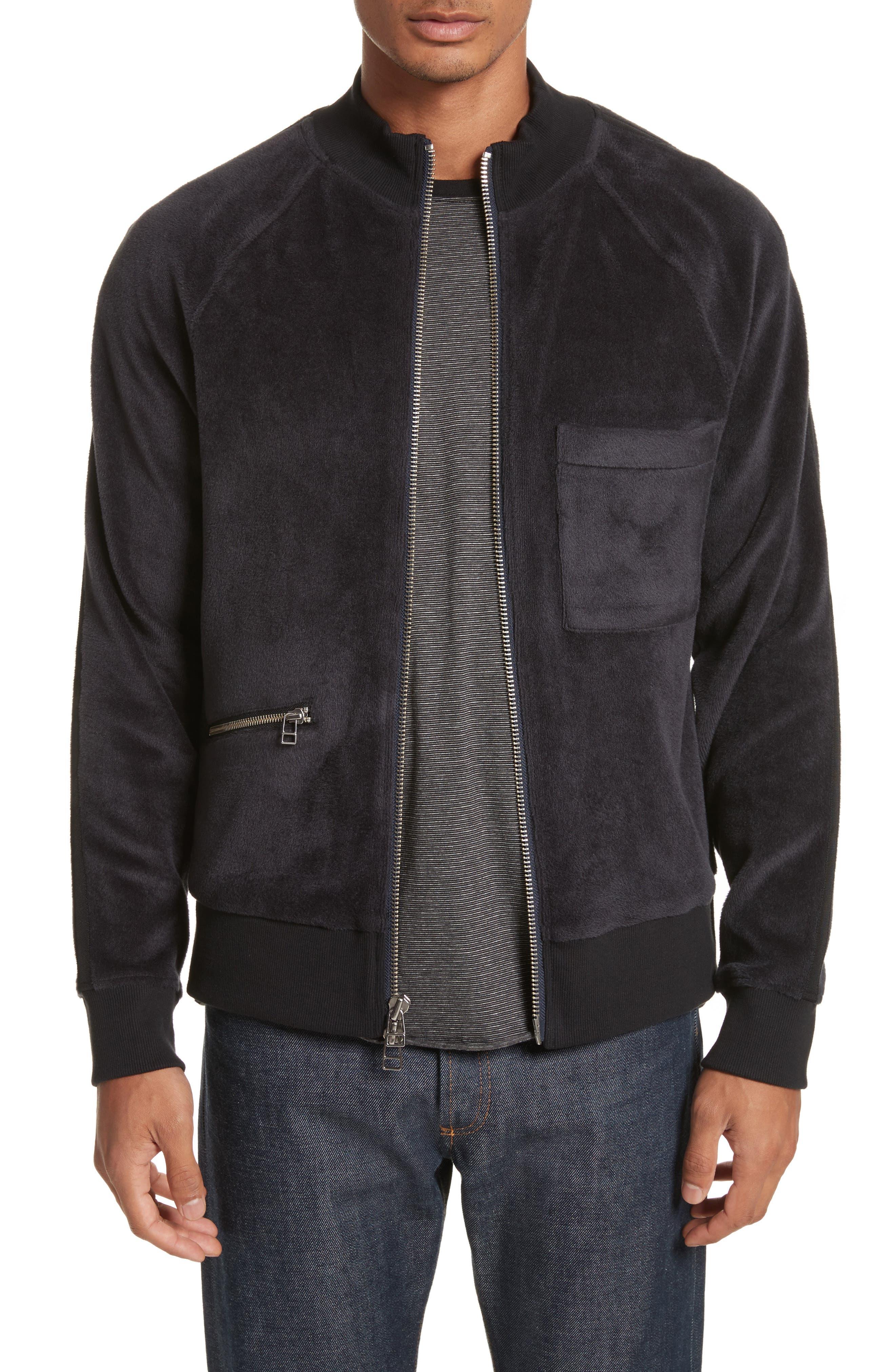 Velour Zip Jacket,                         Main,                         color, Faded Blue