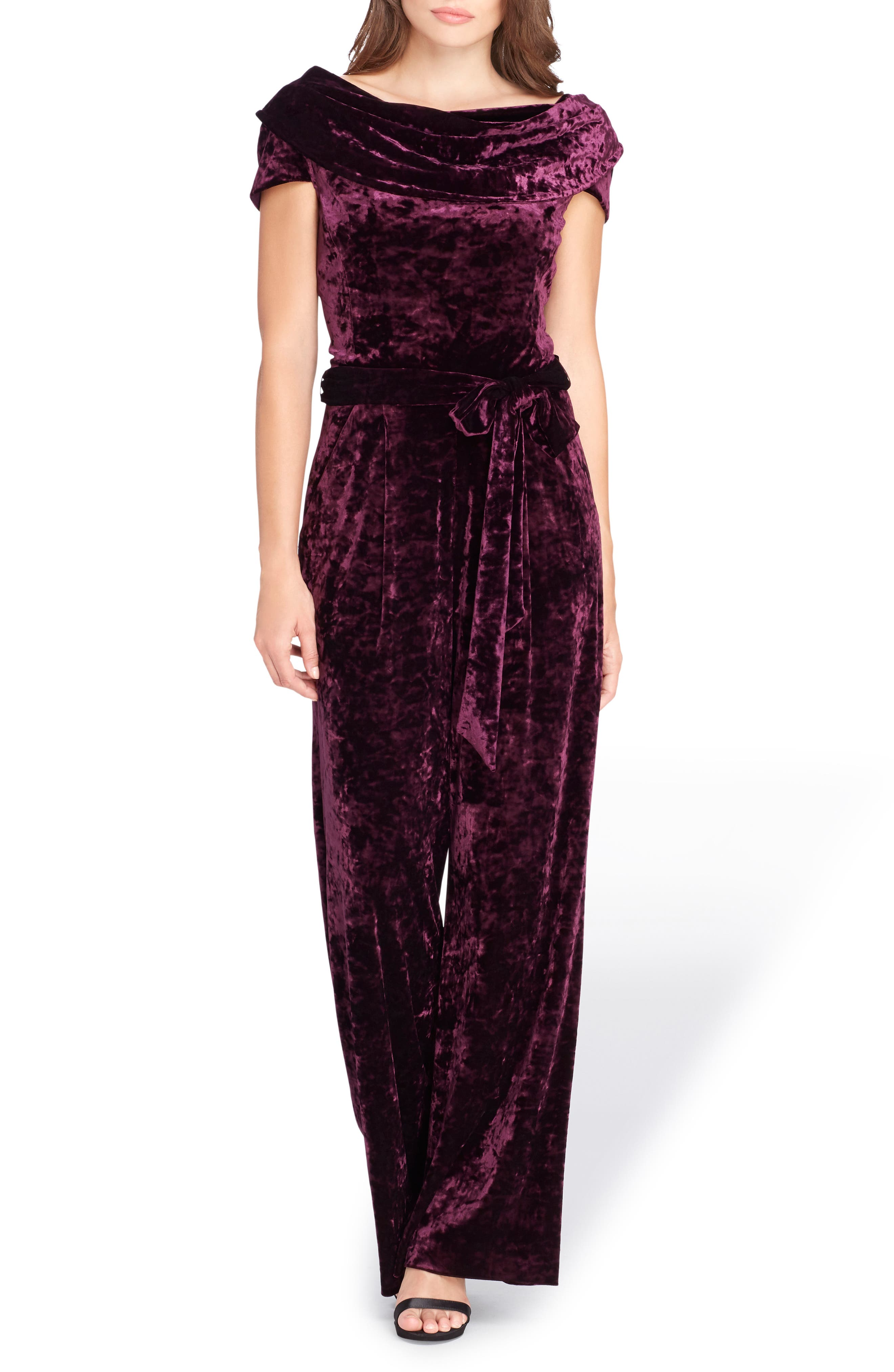Crushed Velvet Jumpsuit,                         Main,                         color, Deep Berry