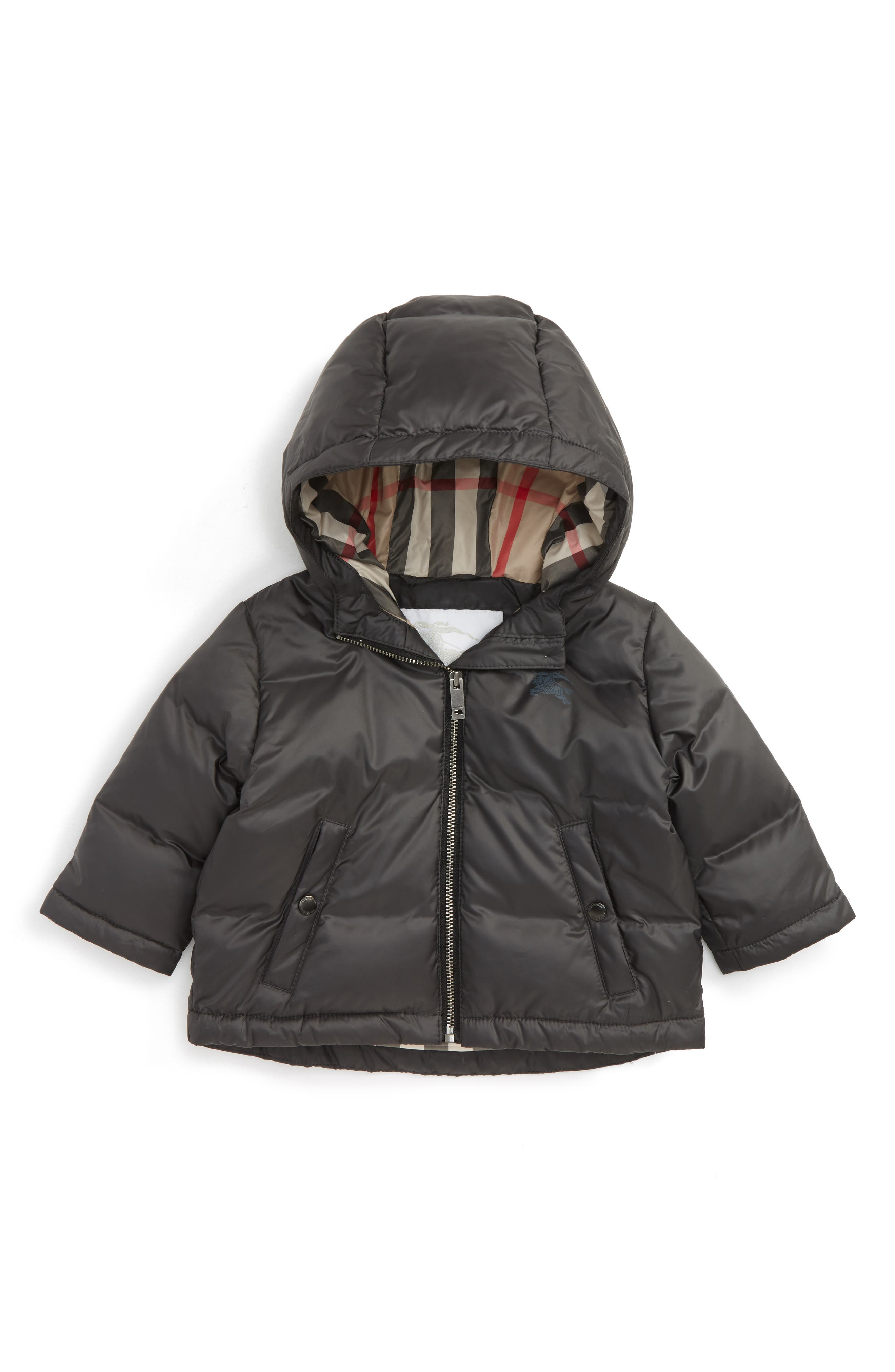Main Image - Burberry Rio Hooded Down Puffer Jacket (Baby)