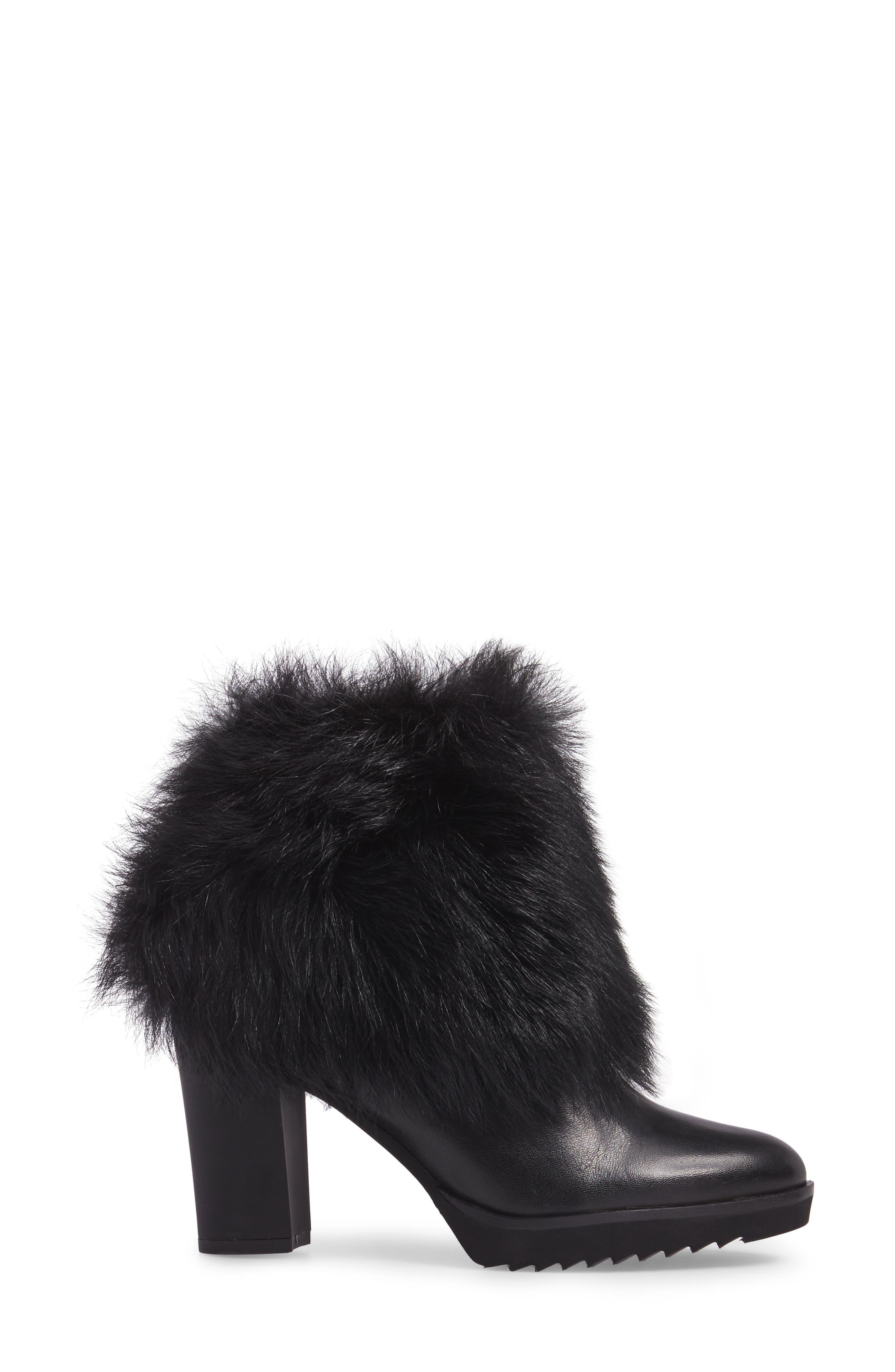 Roslyn Block Heel Genuine Shearling Bootie,                             Alternate thumbnail 3, color,                             Black Leather