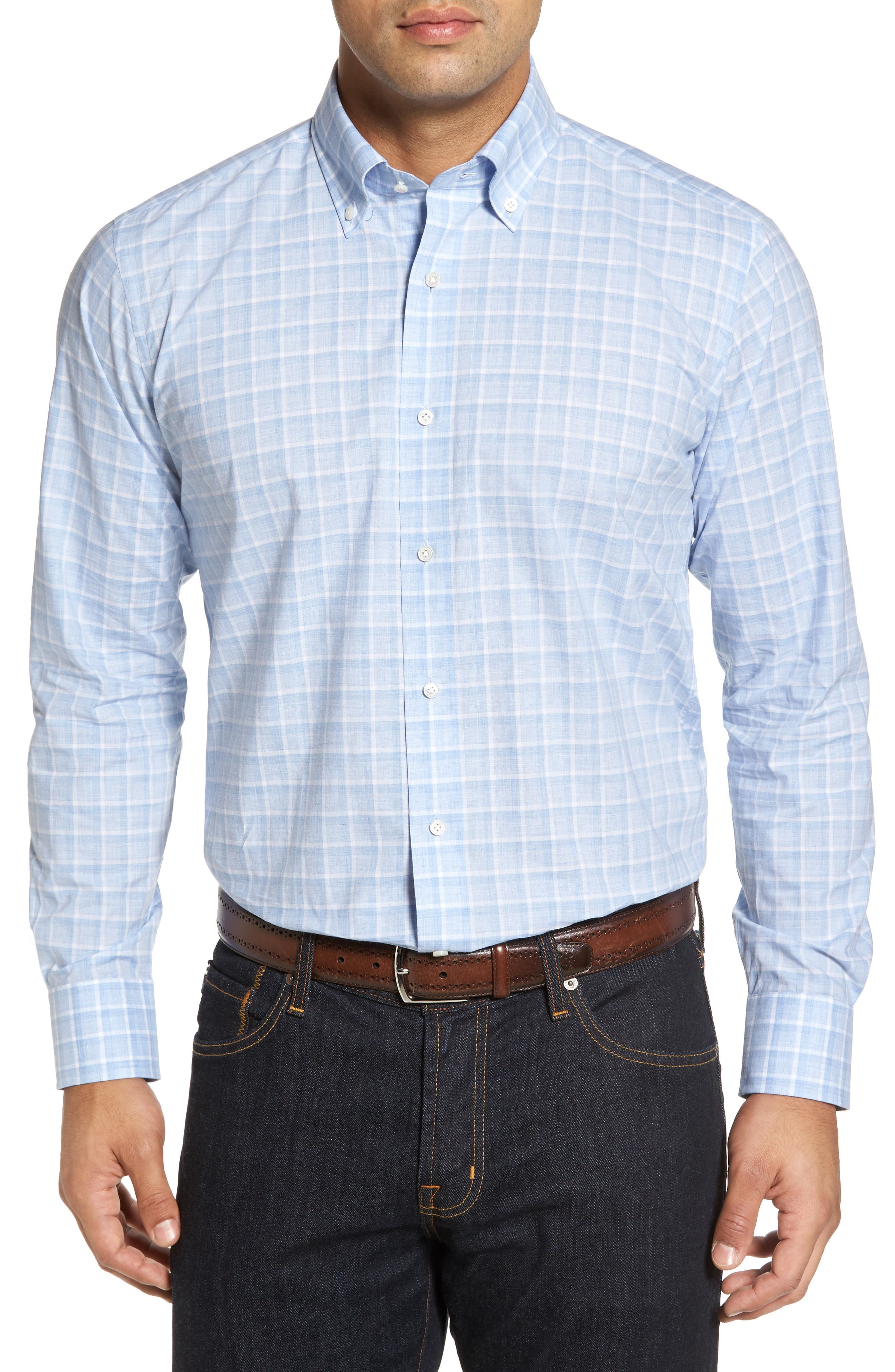 Starry Night Tailored Fit Mélange Check Sport Shirt,                         Main,                         color, Blue Ceillo