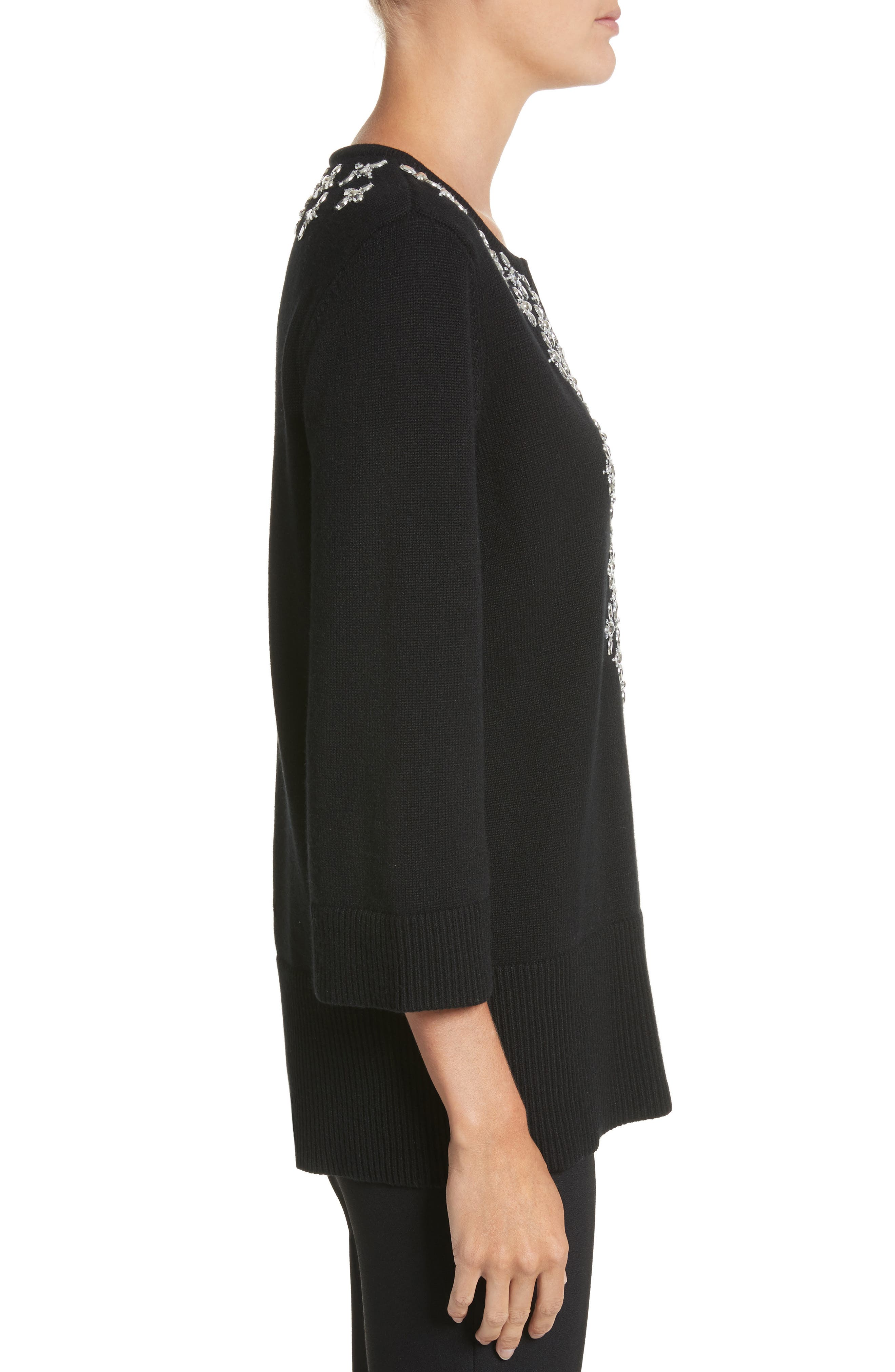 Embellished Cashmere Tunic,                             Alternate thumbnail 3, color,                             Black