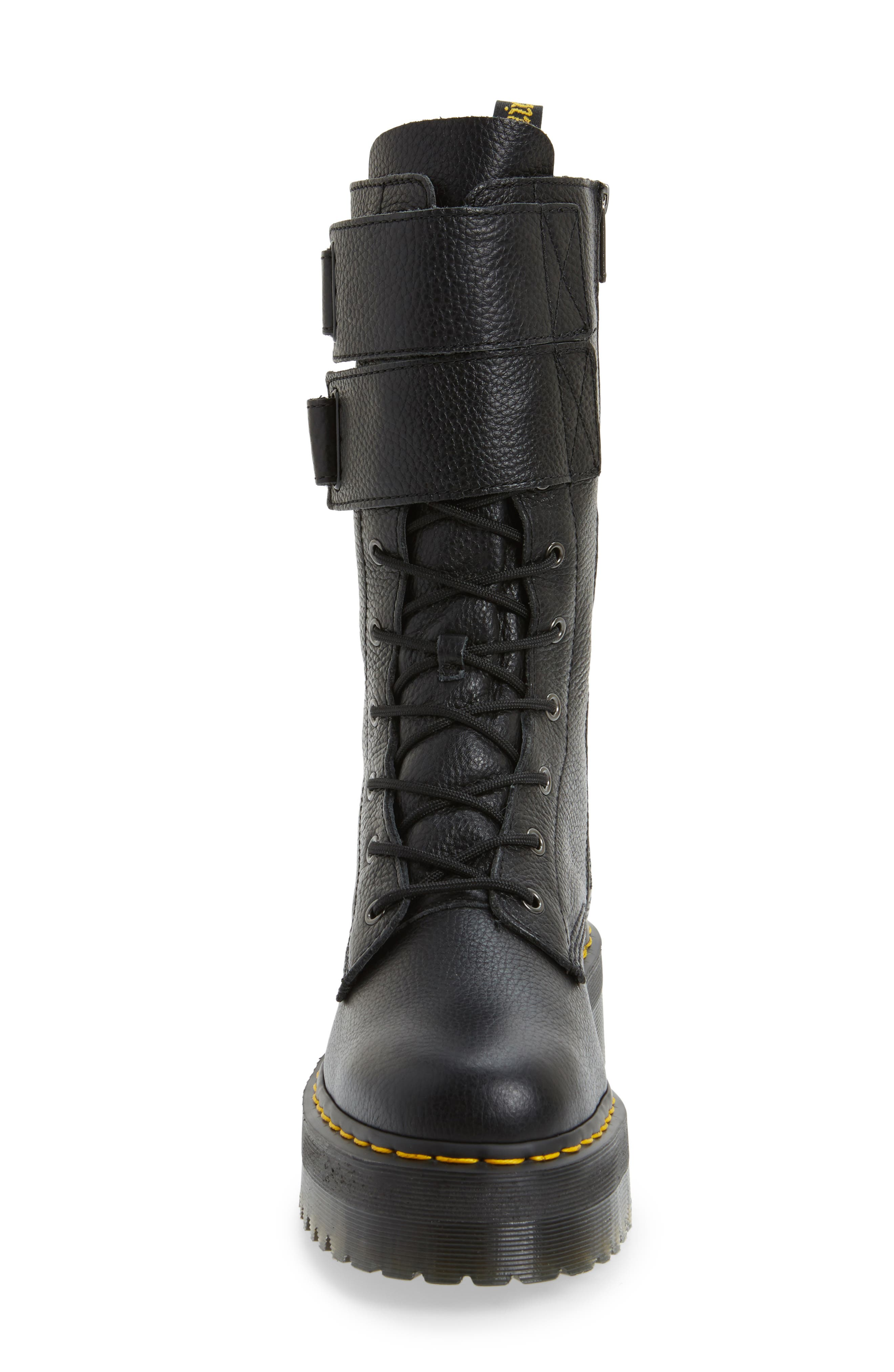 Jagger Combat Boot,                             Alternate thumbnail 4, color,                             Black Leather