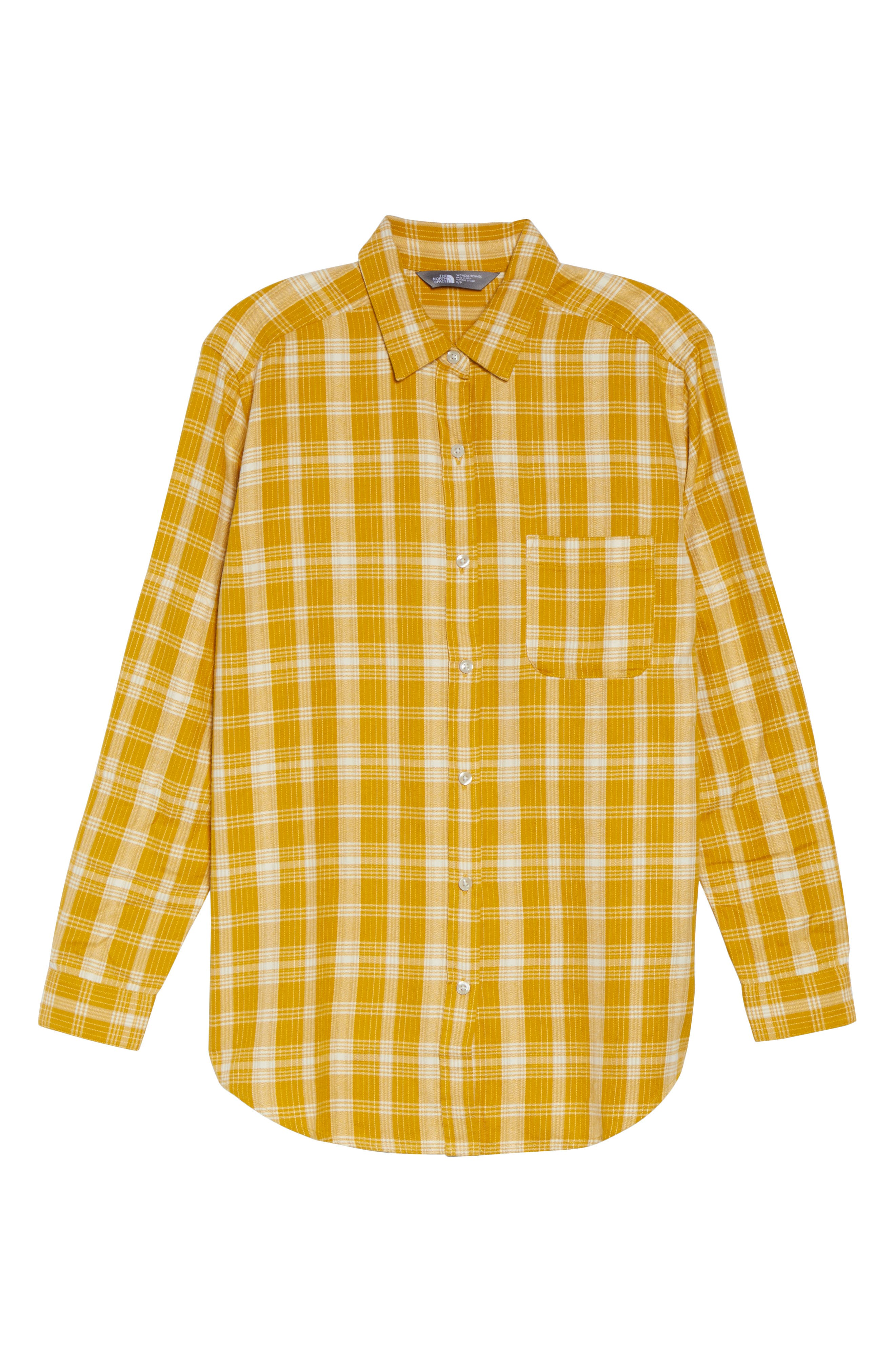 Boyfriend Shirt,                             Alternate thumbnail 7, color,                             Arrowwood Yellow Plaid