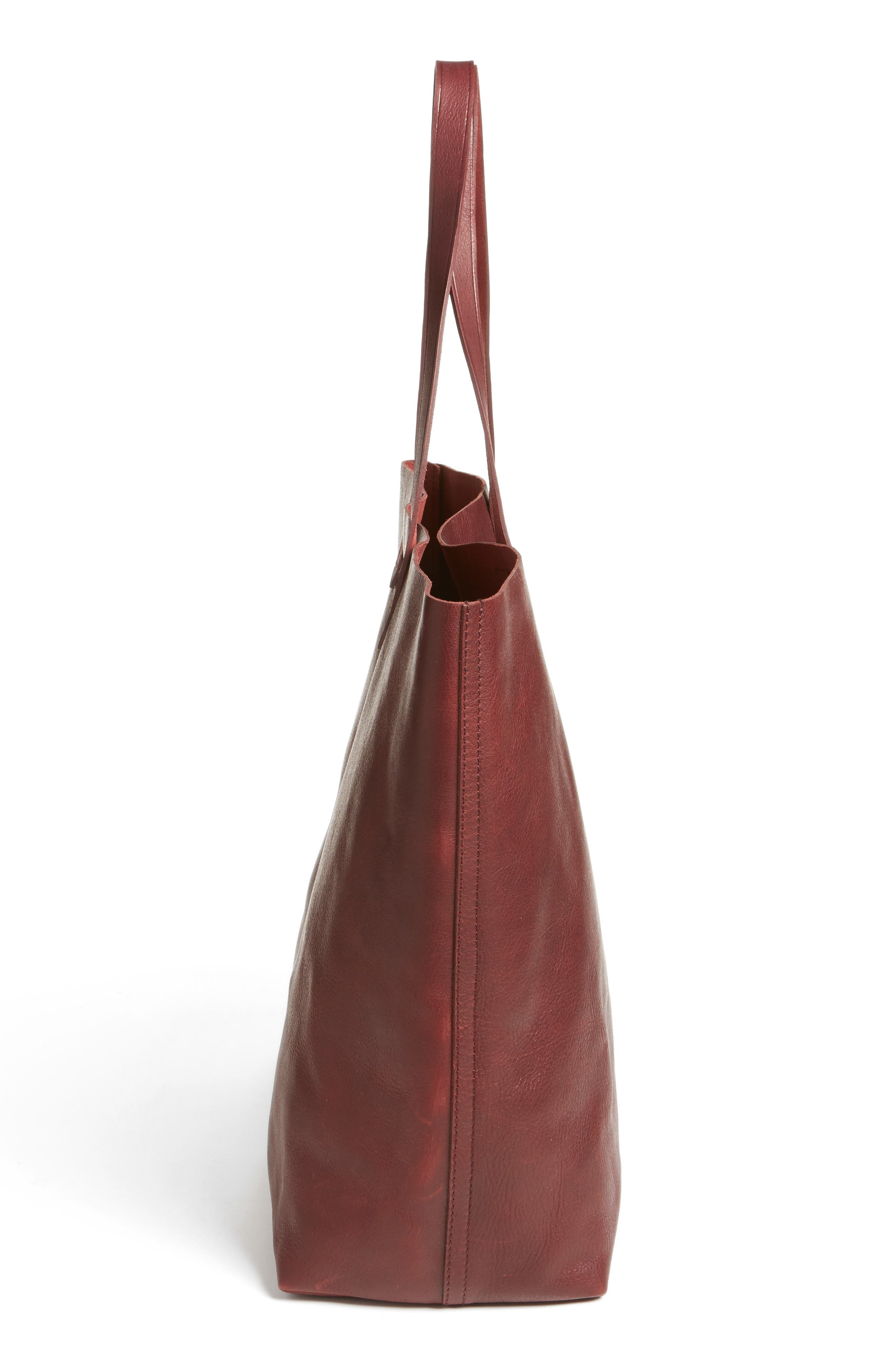 Transport Leather Tote,                             Alternate thumbnail 5, color,                             Dark Cocoa