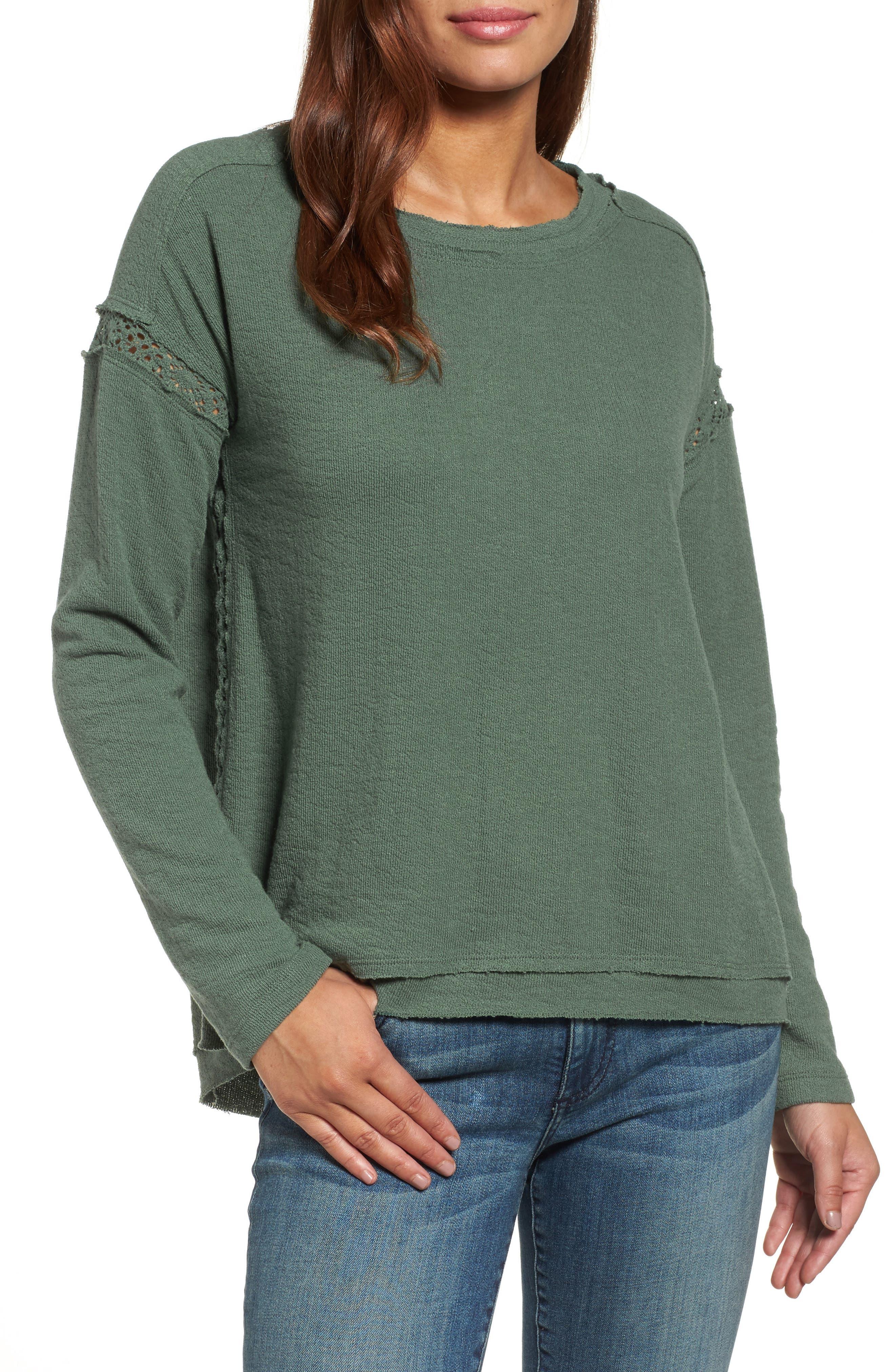 Caslon® Crochet Lace Trim Sweatshirt