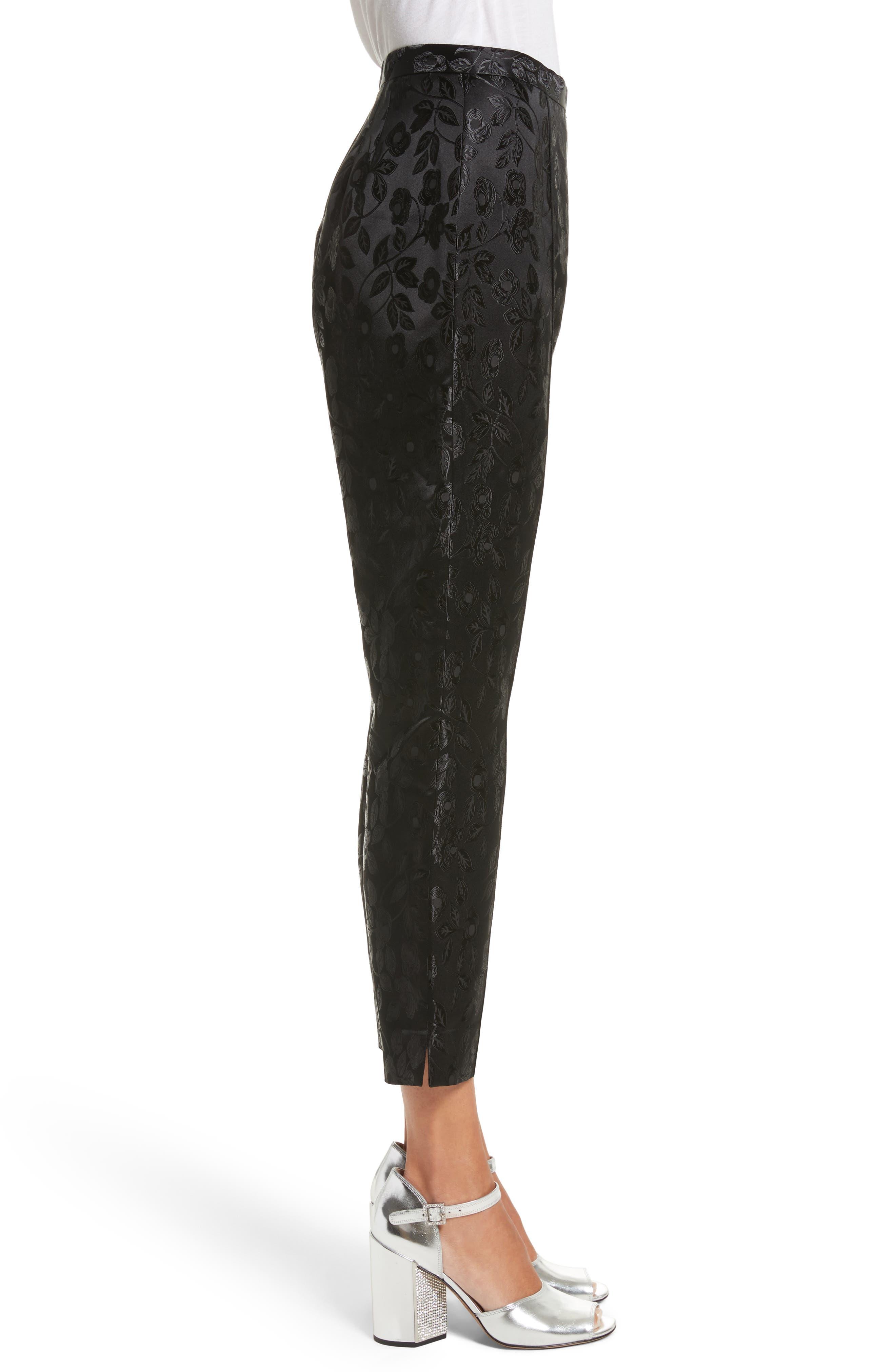 Jacquard Crop Pants,                             Alternate thumbnail 3, color,                             Black