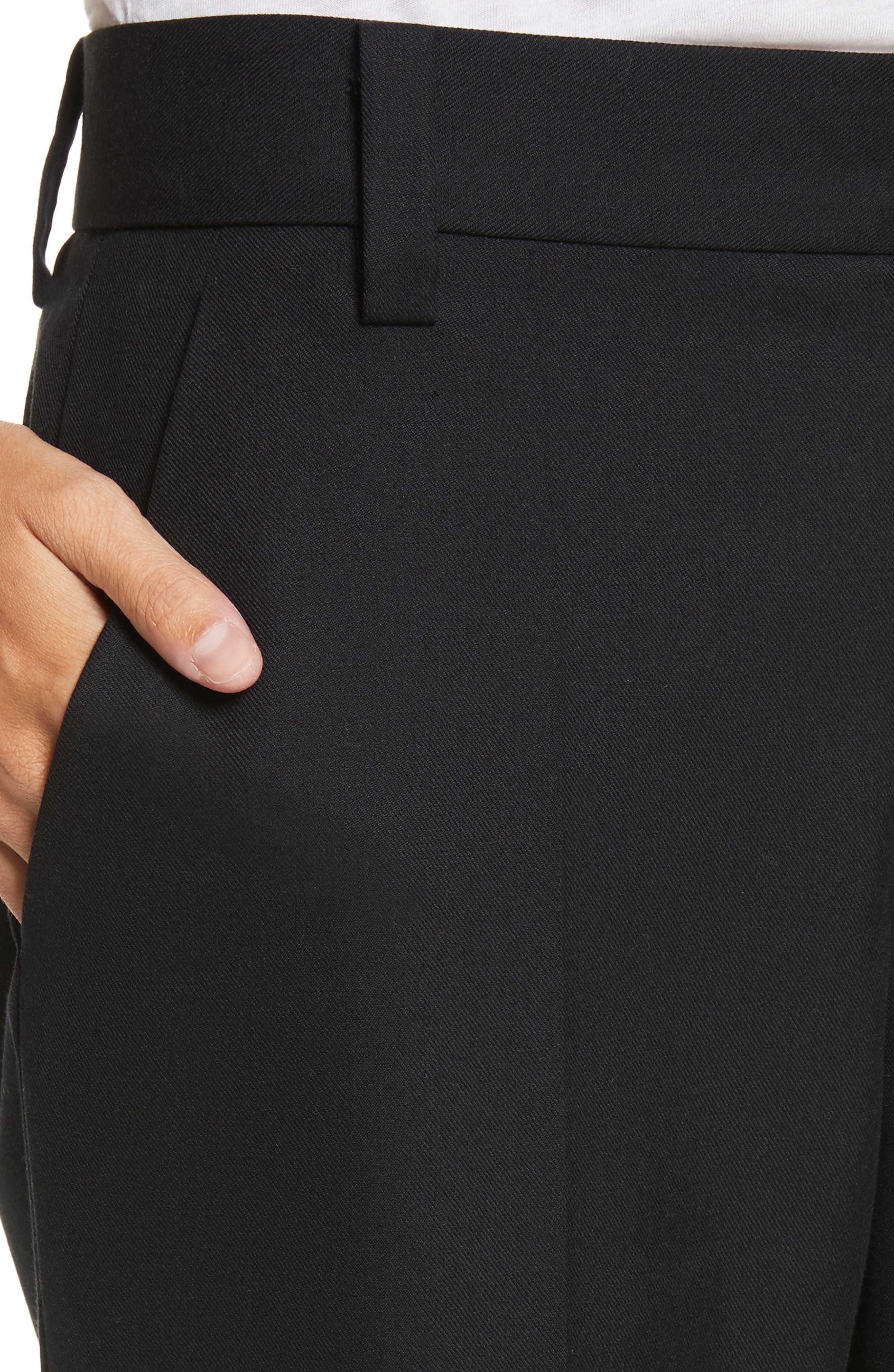 Pompom Hem Trousers,                             Alternate thumbnail 4, color,                             Black