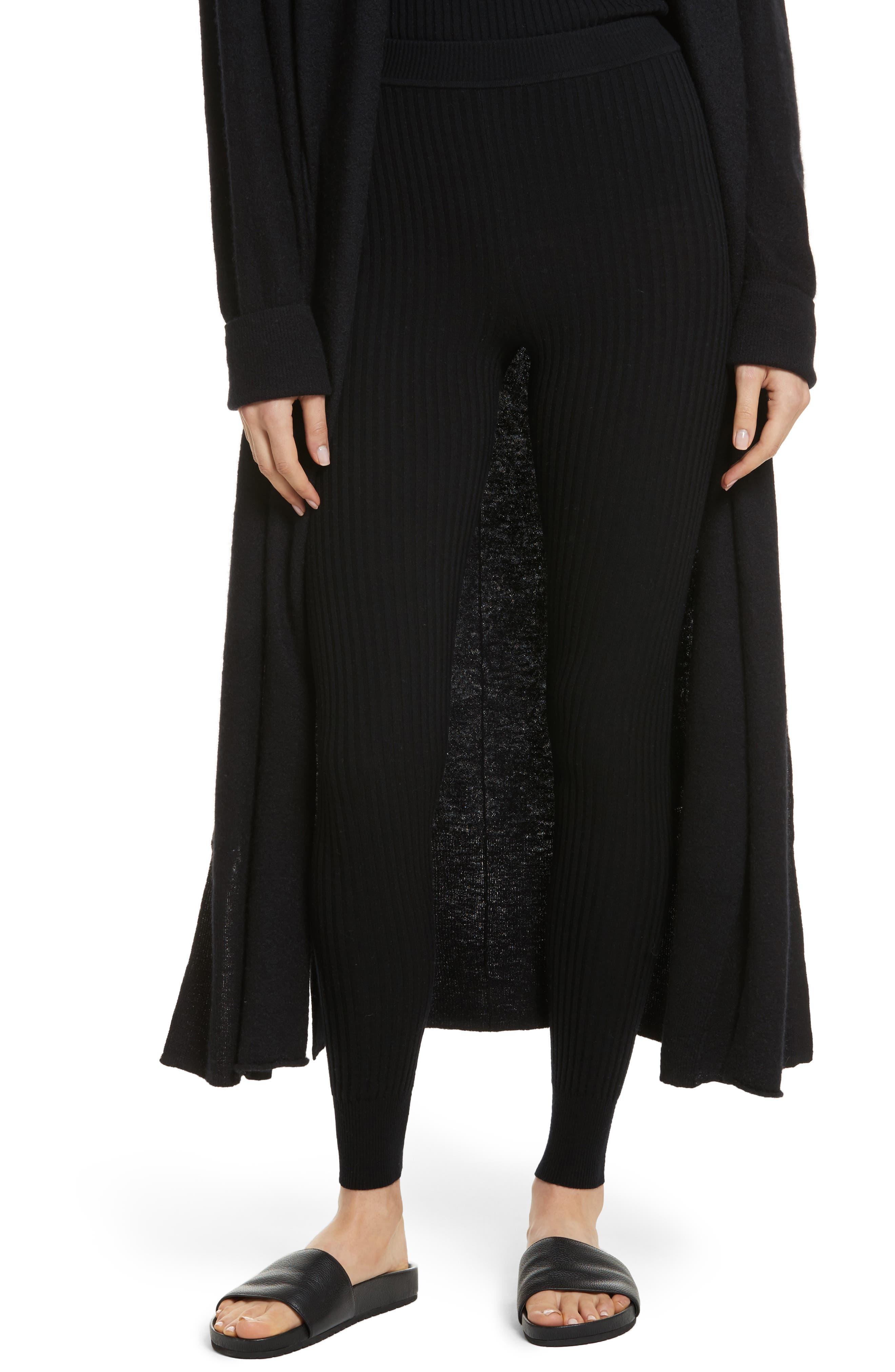 Ribbed Leggings,                         Main,                         color, Black
