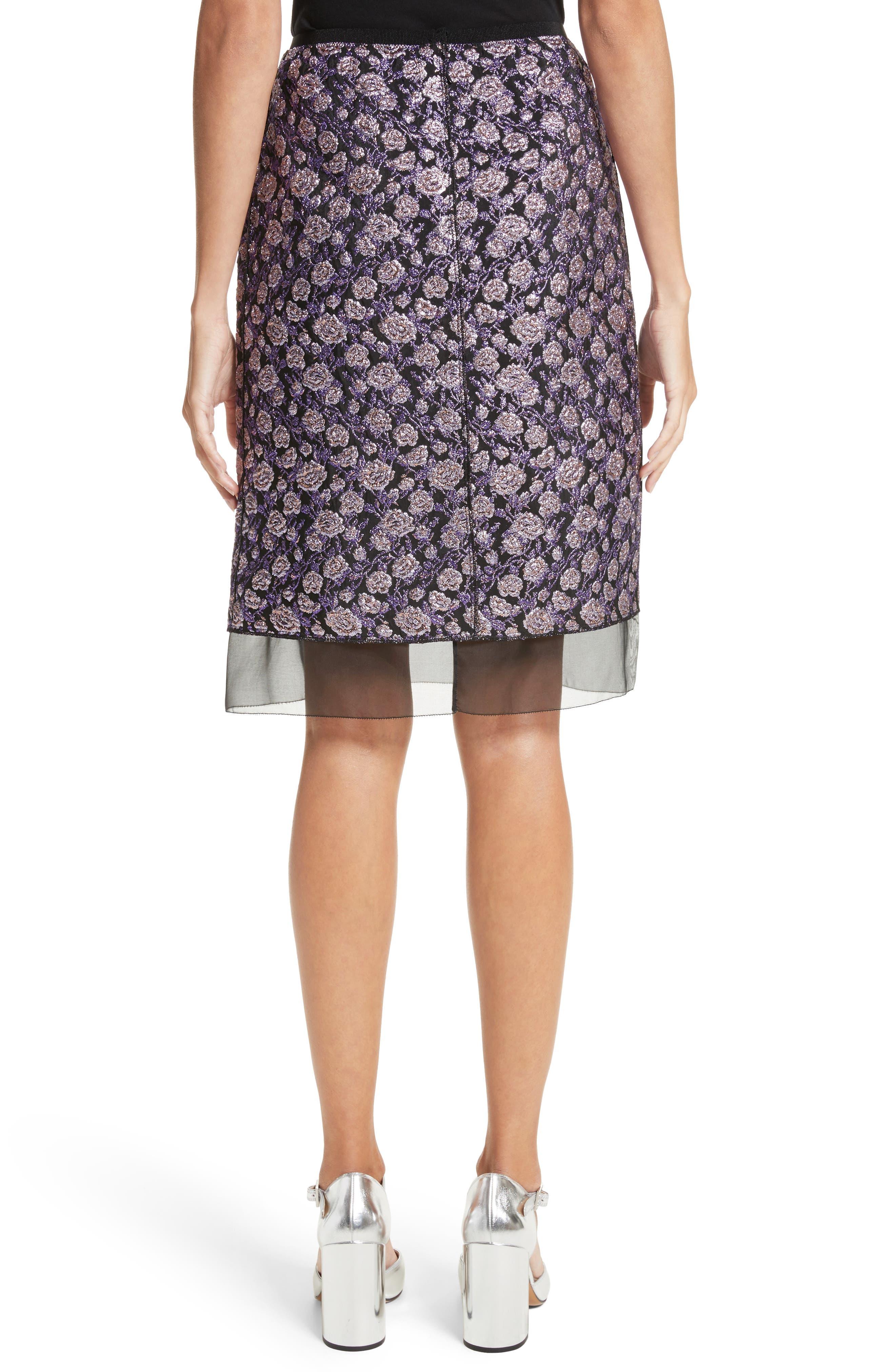 Metallic Jacquard Pencil Skirt,                             Alternate thumbnail 2, color,                             Purple Multi