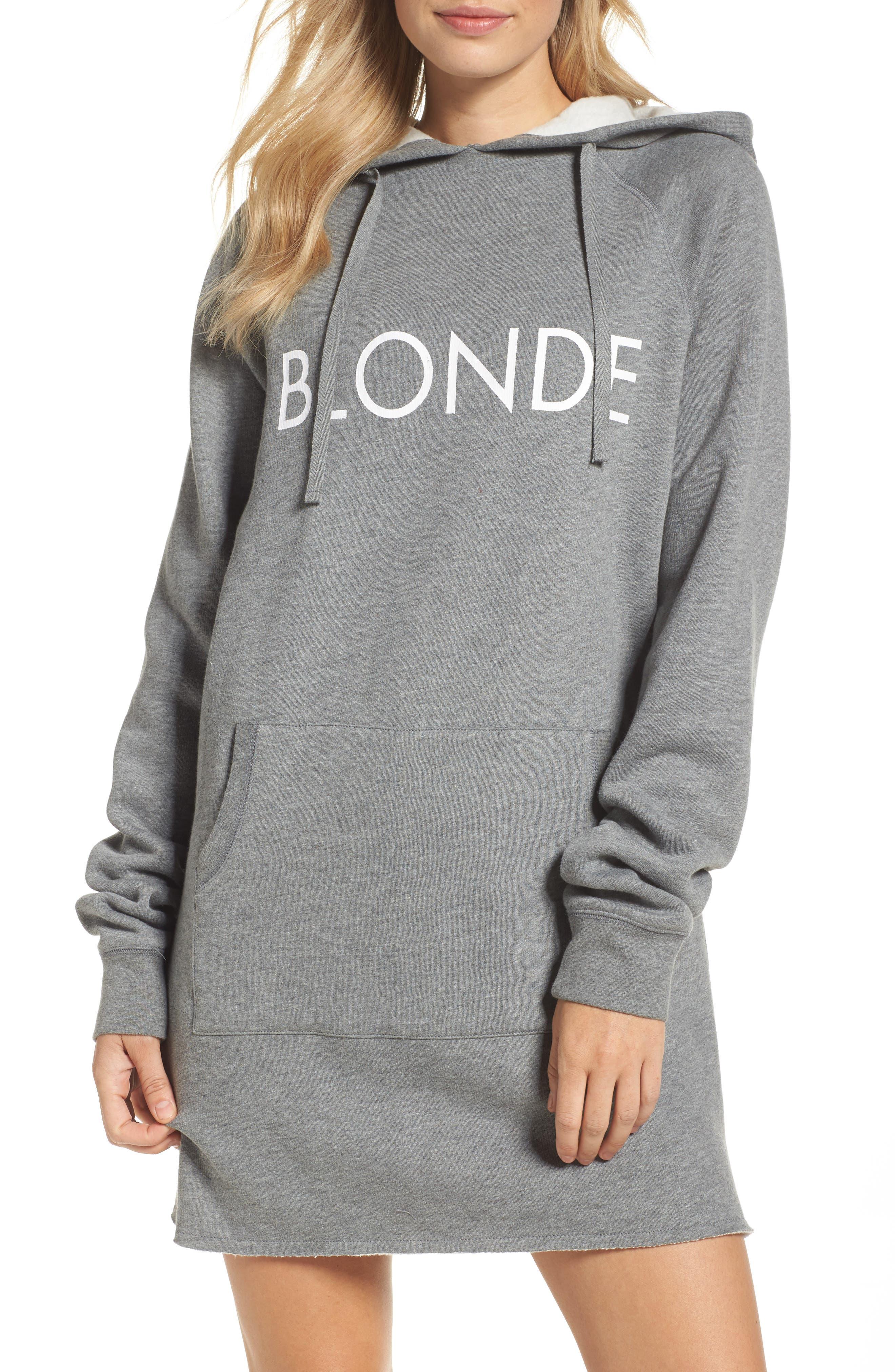 Blonde Sweatshirt Dress,                             Main thumbnail 1, color,                             Heather Grey White