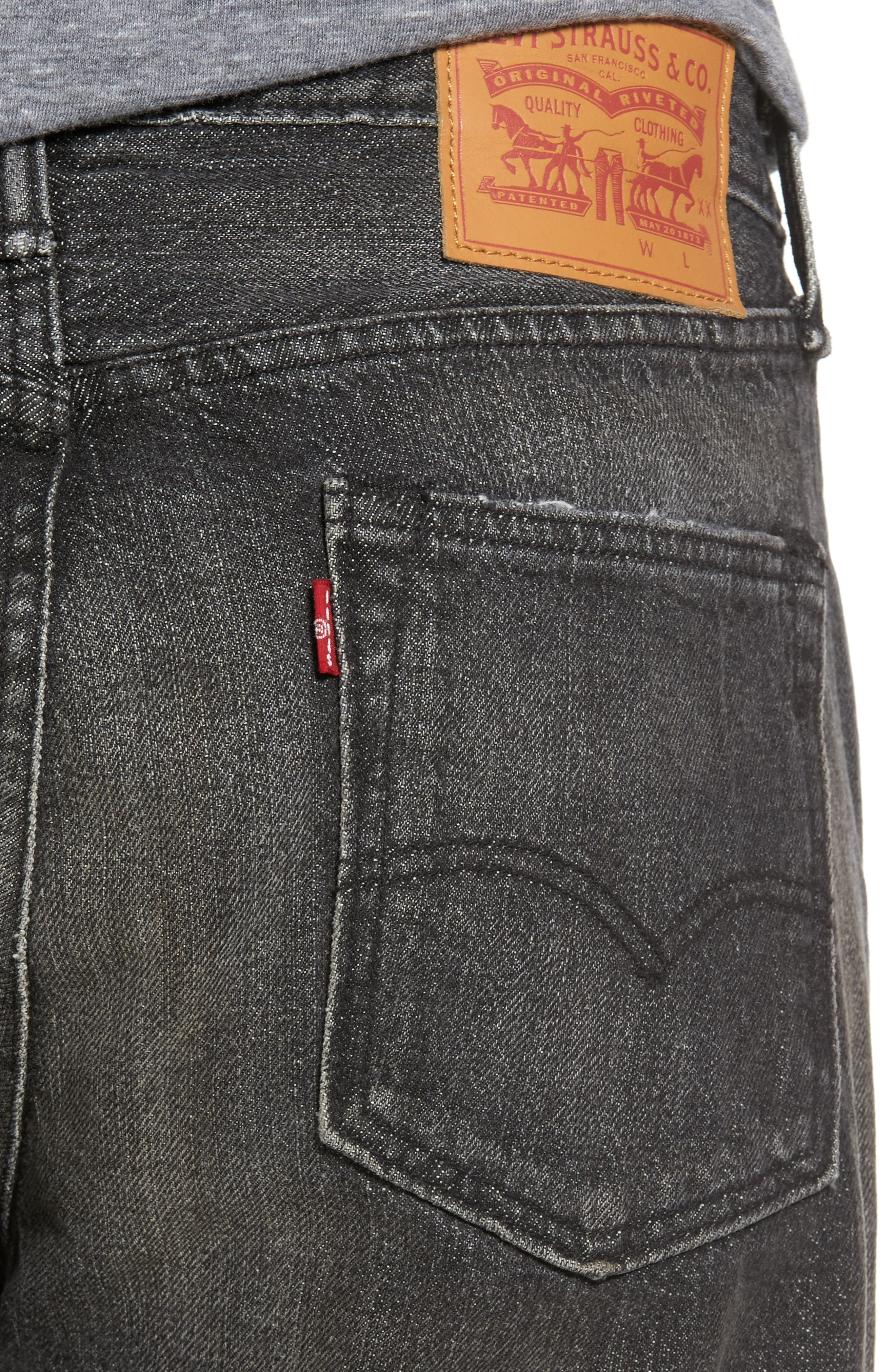 Alternate Image 4  - Levi's® 501™ Slouchy Tapered Slim Fit Jeans (Black Moor)
