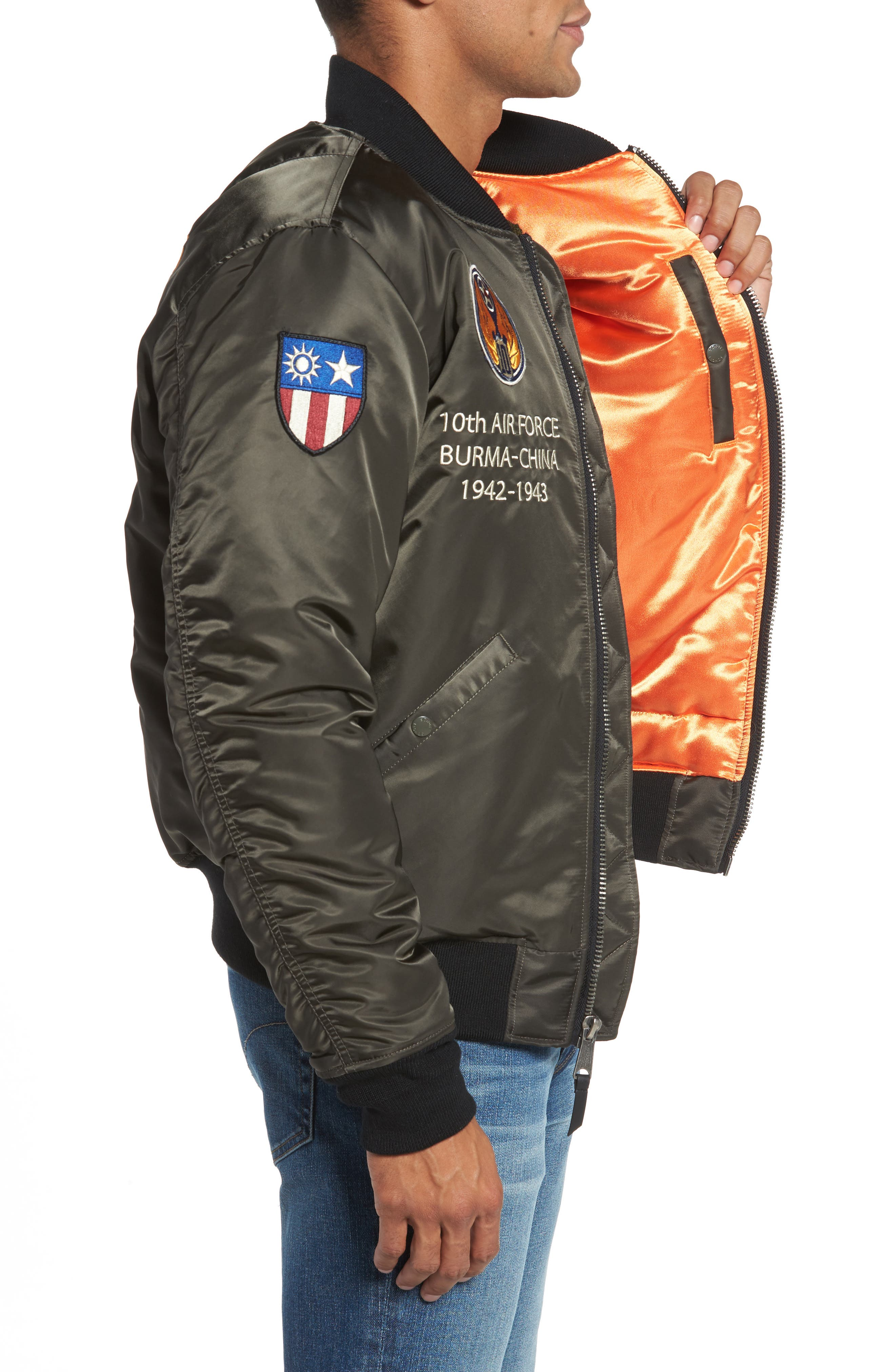 Alternate Image 3  - Schott NYC Highly Decorated Embroidered Flight Jacket