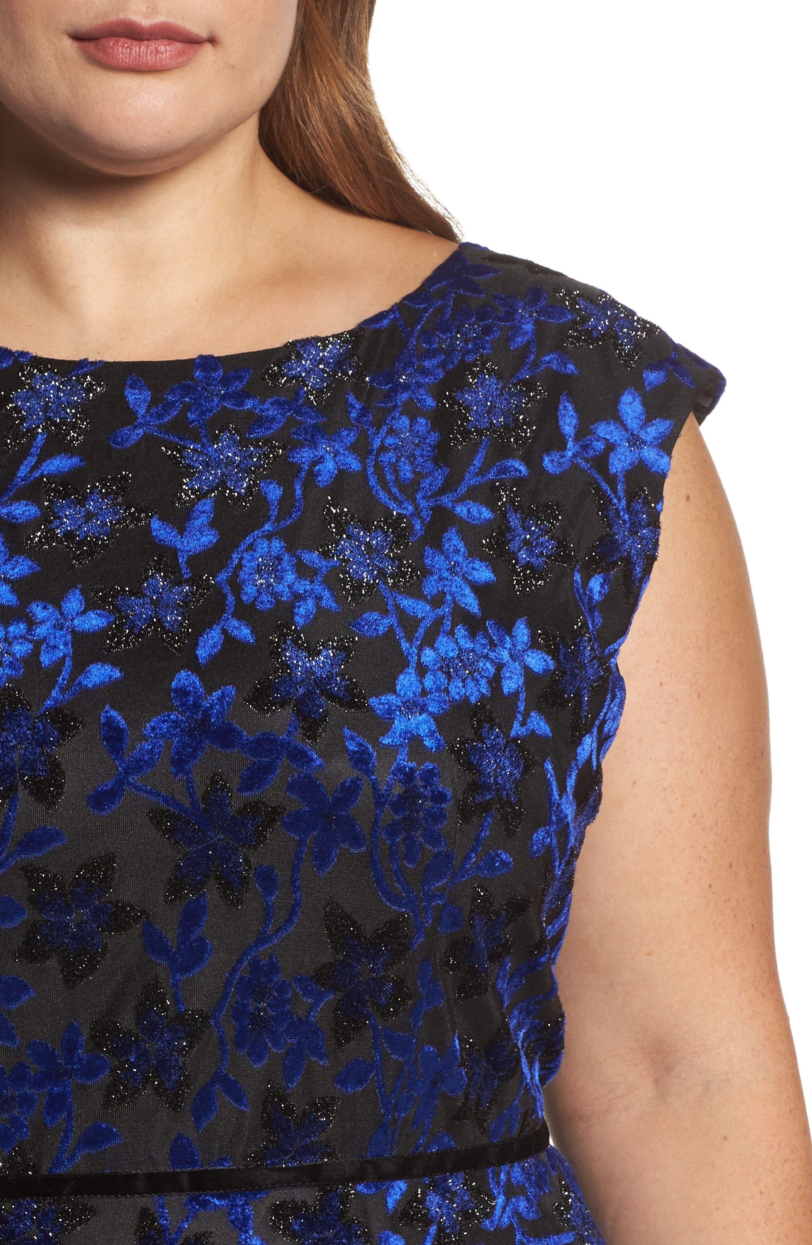 Alternate Image 4  - Tahari Burnout Velvet Fit & Flare Dress (Plus Size)
